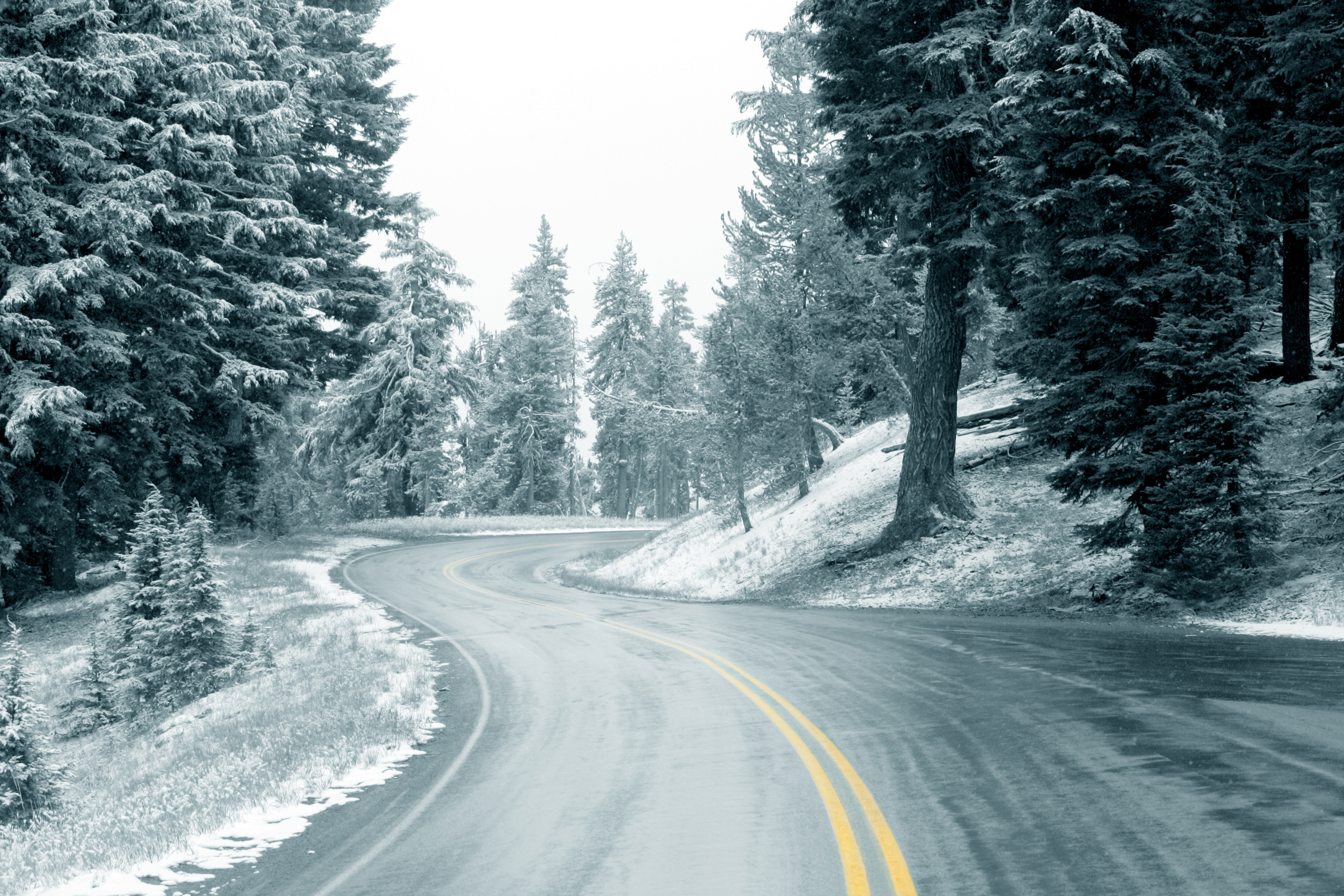Winter road with orange markings wallpapers and images - wallpapers ...