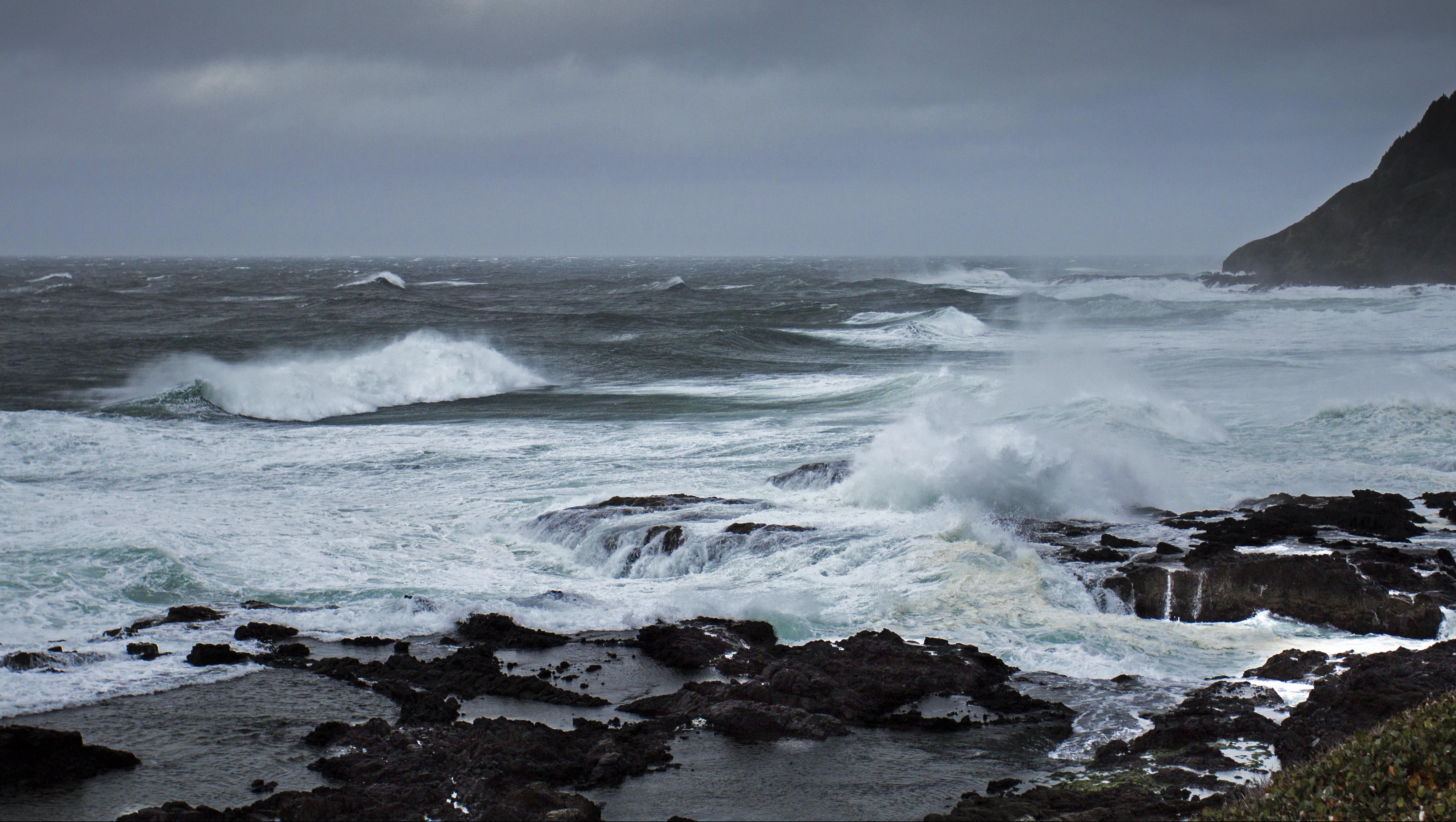 Winter storm cape perpetua, oregon photo