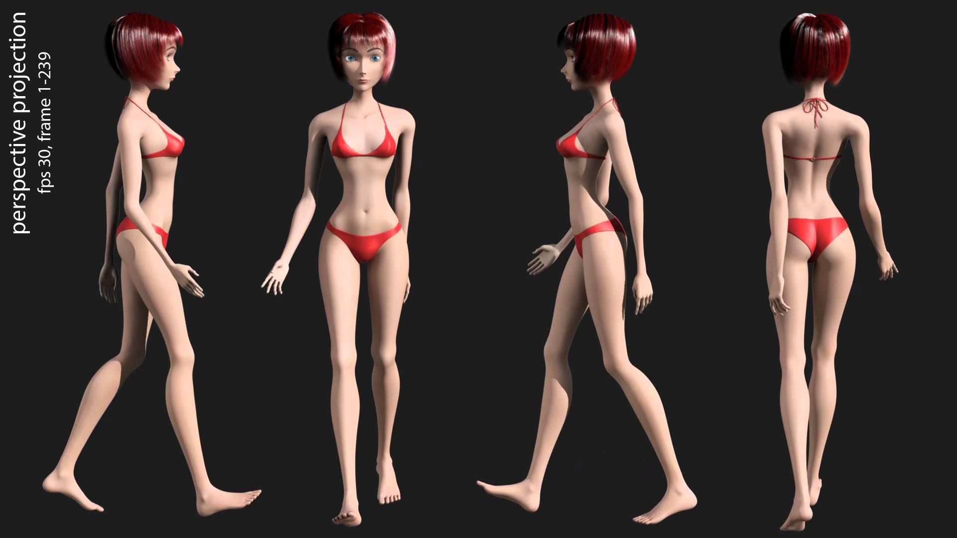Maya 2014 3D render animation sexy girls in bikini, animation gait ...