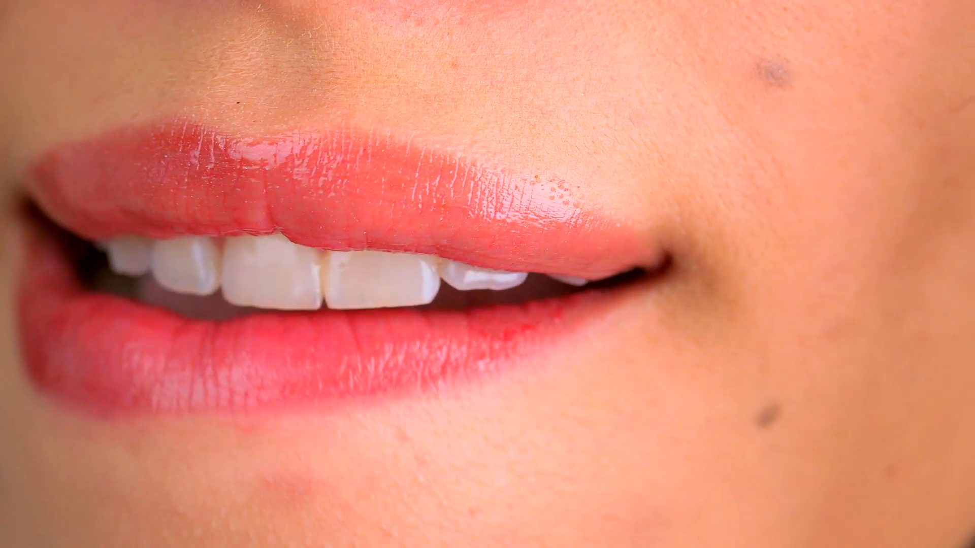 Extreme close up of woman biting lower lip Stock Video Footage ...