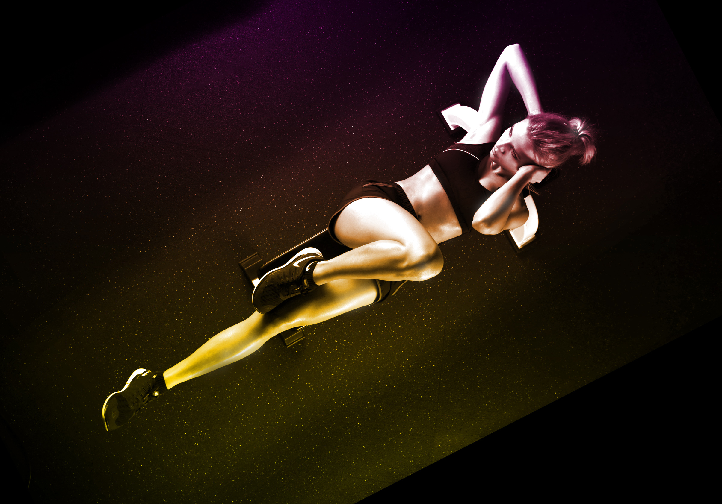 Woman Exercising Abs on the Floor Mat, Physical, Slim, Sideview, Profile, HQ Photo