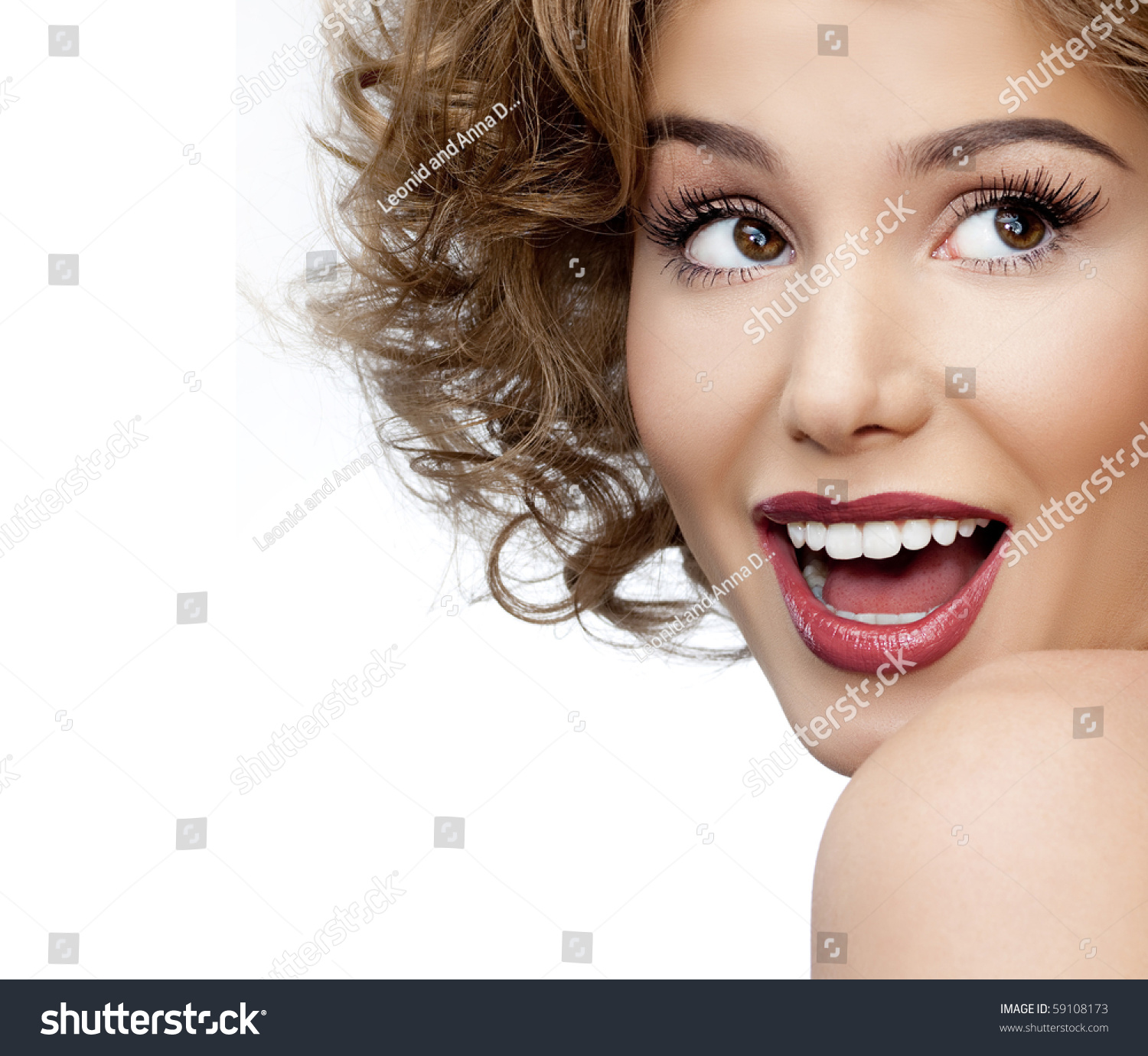 Beautiful Woman Face Perfect Toothy Smile Stock Photo (100% Legal ...