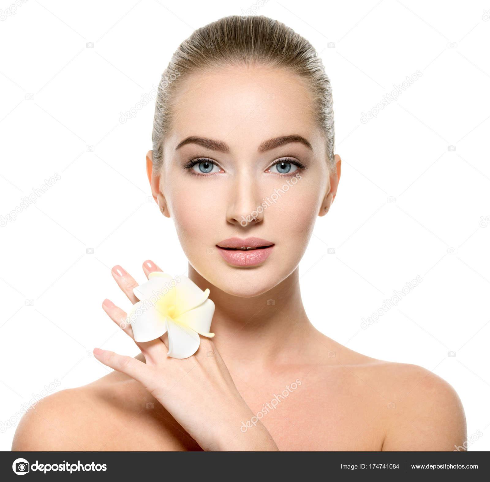 Beautiful Young Woman Flower Hand Face Closeup Portrait Caucasian ...
