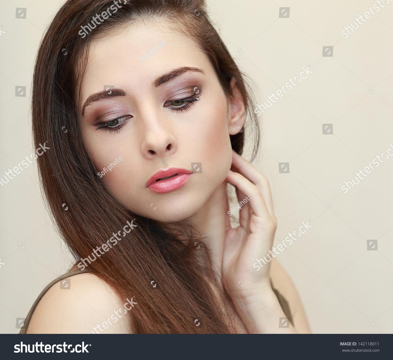 Beautiful Makeup Woman Face Looking Down Stock Photo 142118011 ...