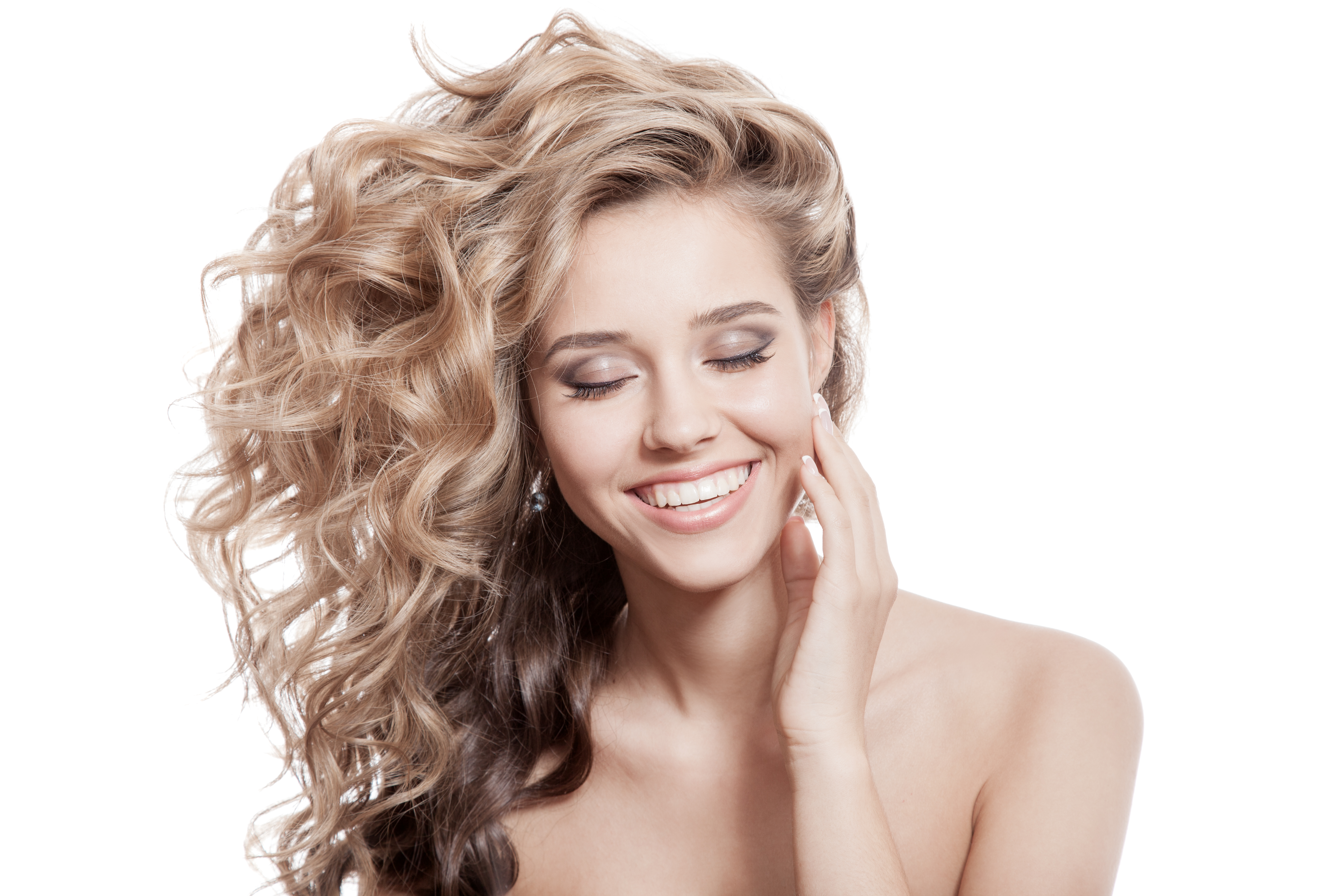 Beautiful Smiling Woman. Healthy Long Curly Hair - Remy Hair ...