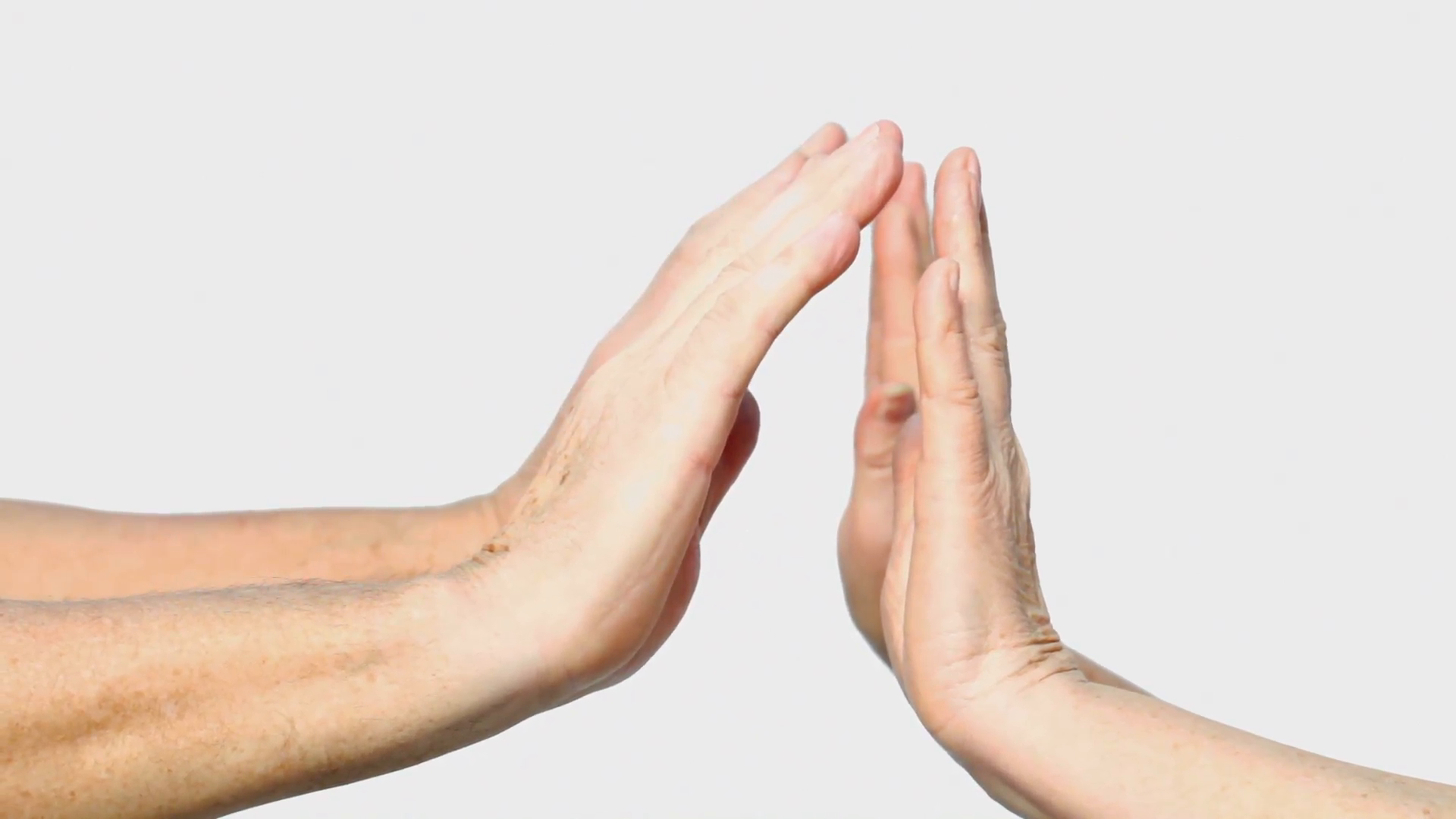 Four senior woman and man hands show palm gesture Stock Video ...