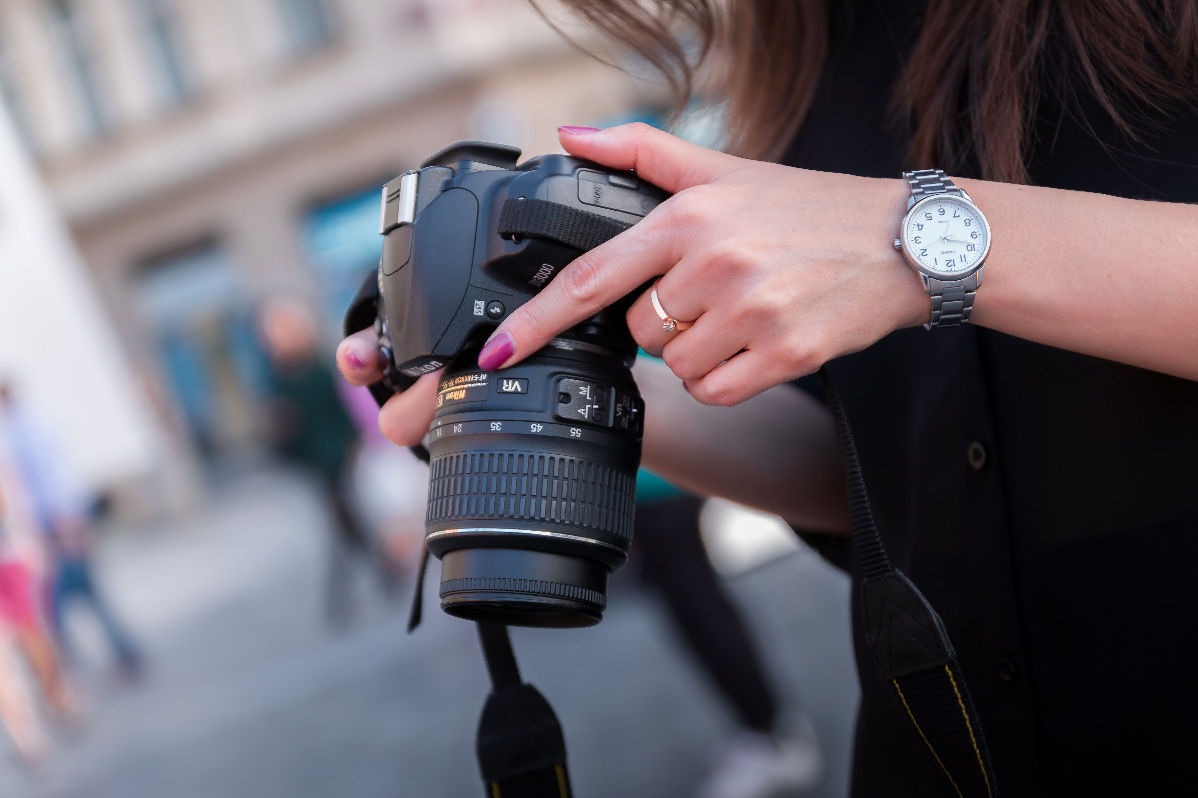 Woman Holding Black Dslr Camera, Adult, Lens, Watch, Technology, HQ Photo