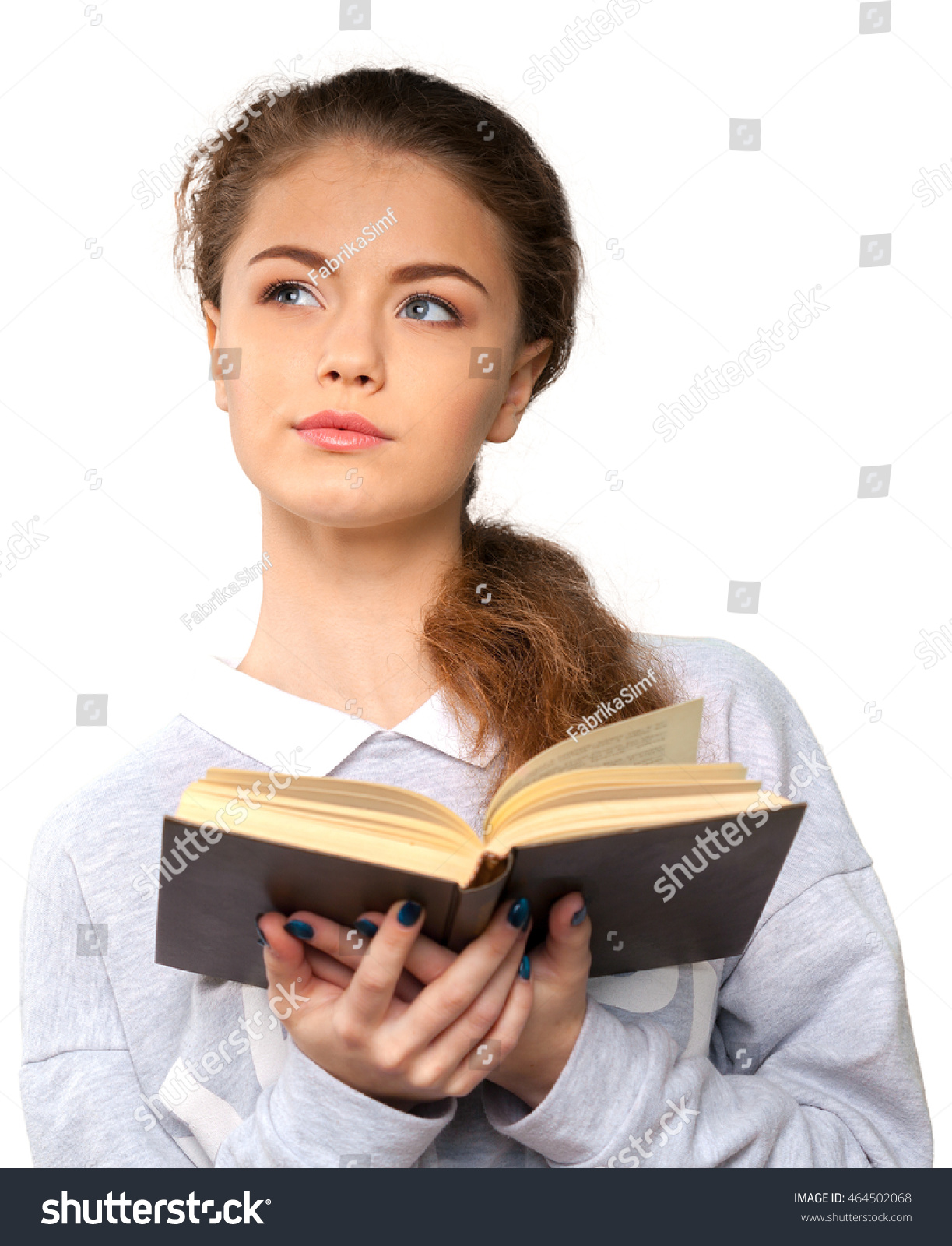 Beautiful Young Woman Holding Book Stock Photo 464502068 - Shutterstock