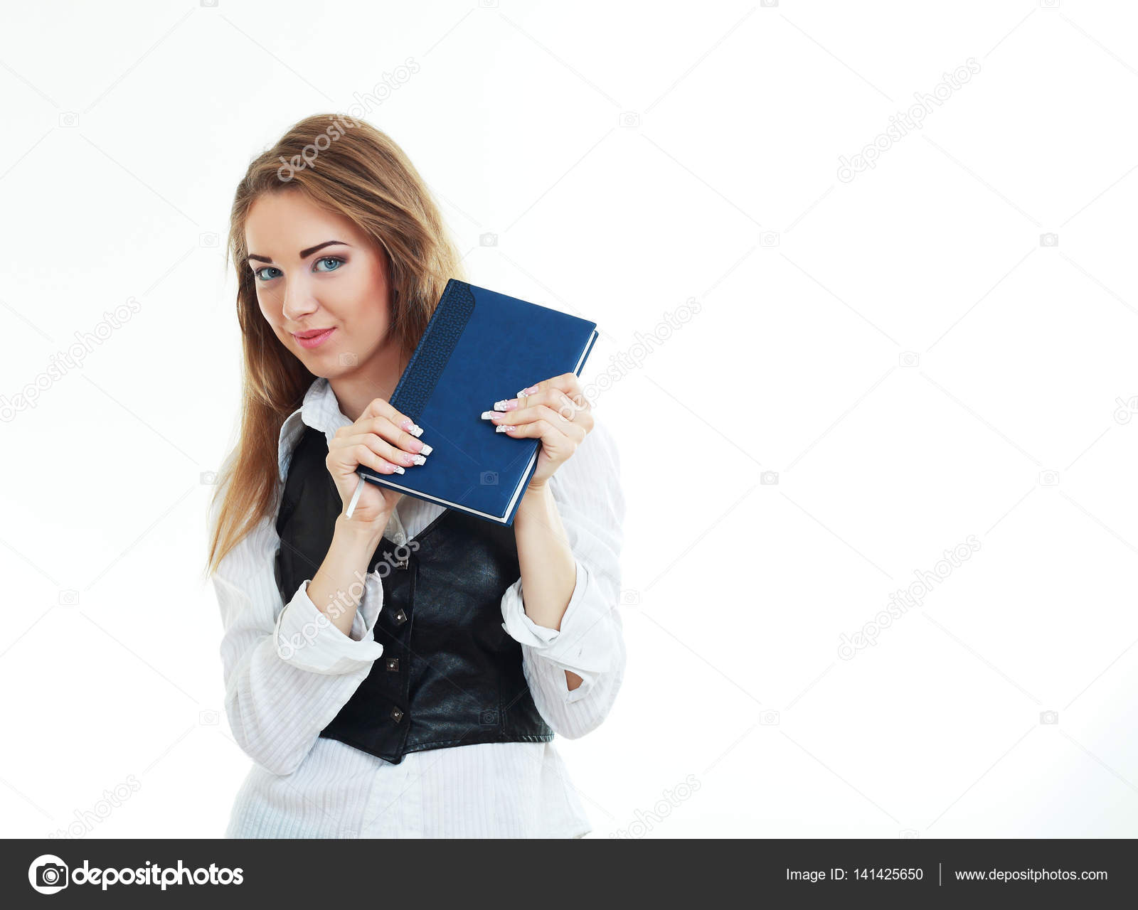 woman holding book — Stock Photo © lenanet #141425650