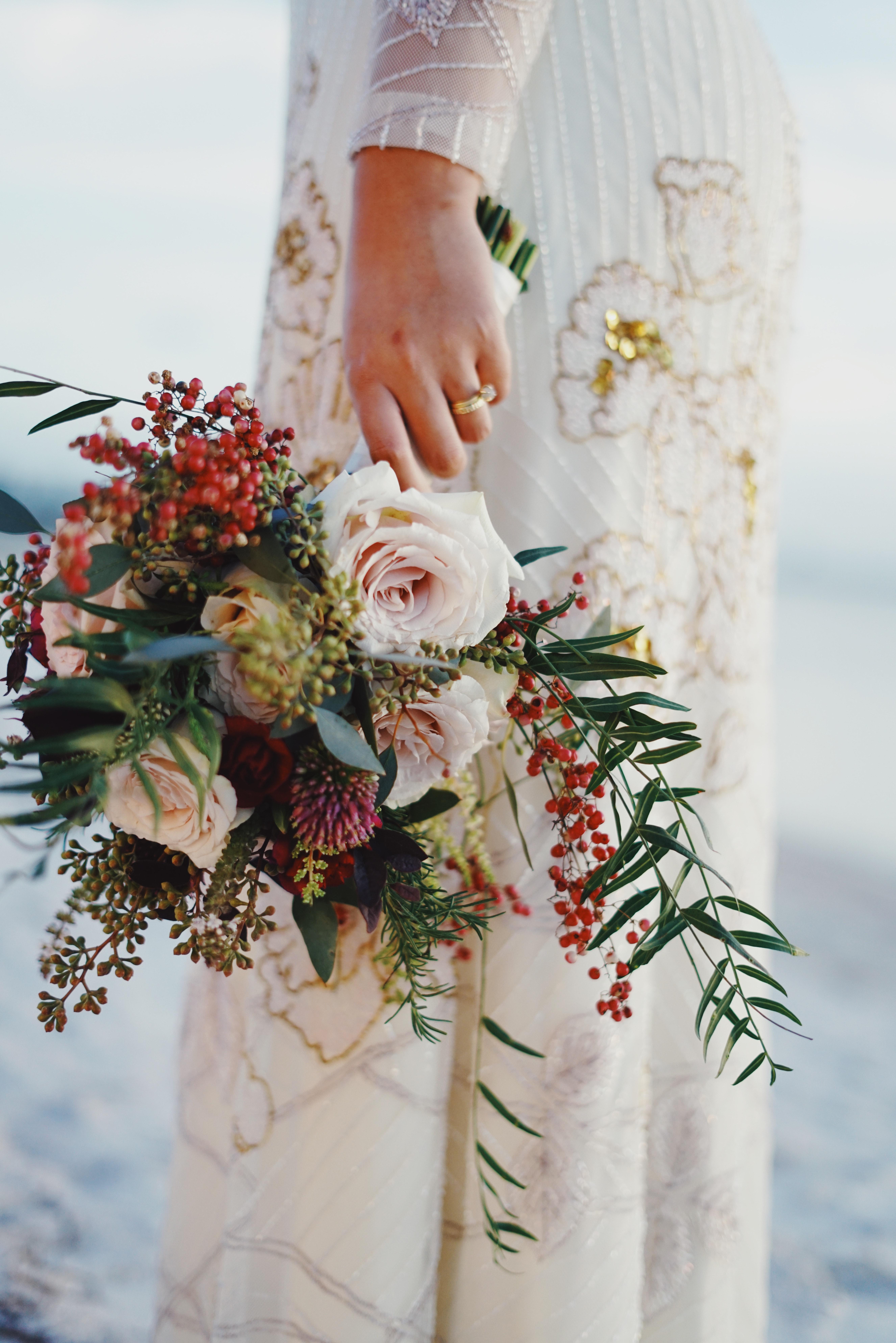 Woman Holding Bouquet of Flowers, Adult, Flowers, Wedding dress, Wedding, HQ Photo