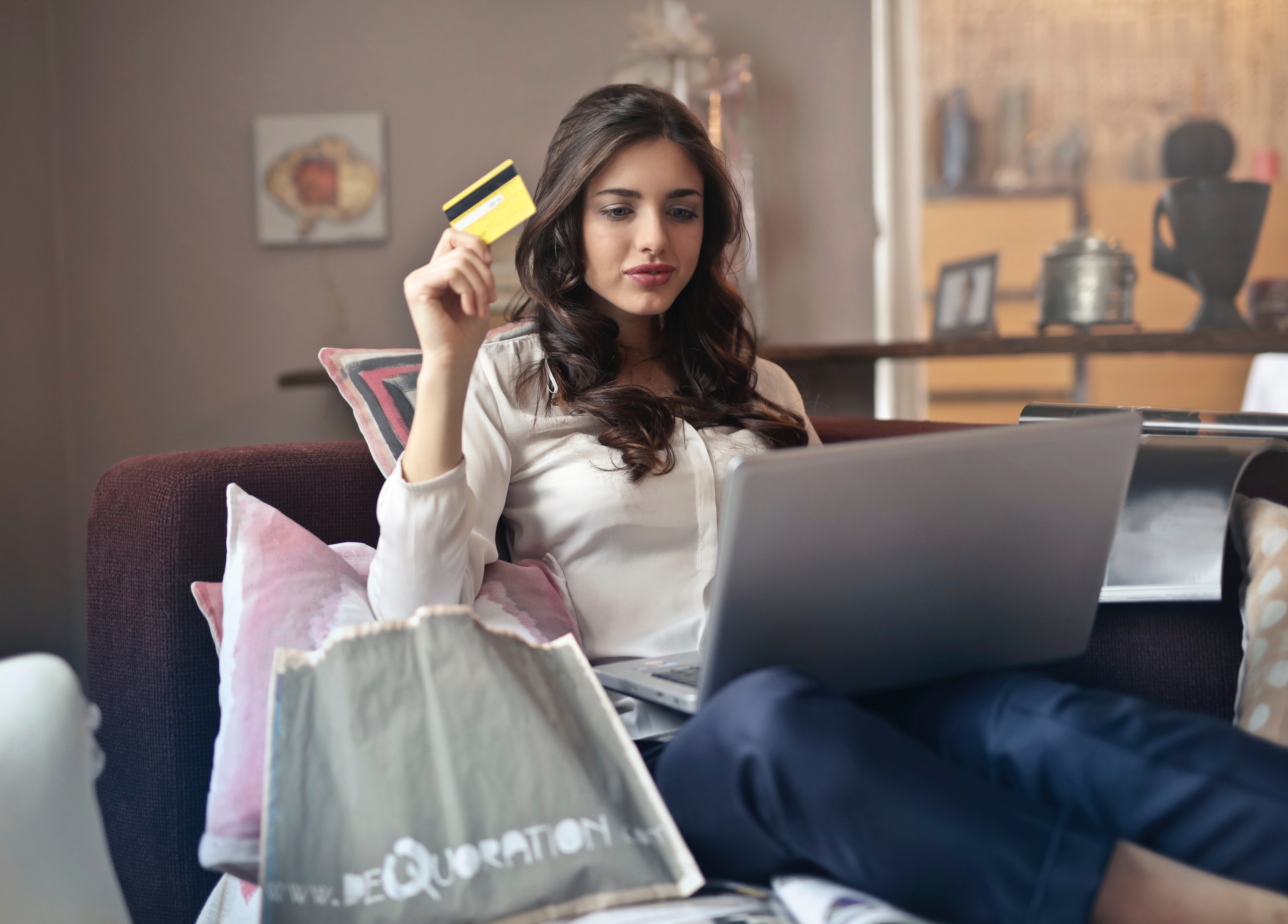 Woman Holding Card While Operating Silver Laptop, Adolescent, Payment, Laptop, Leisure, HQ Photo