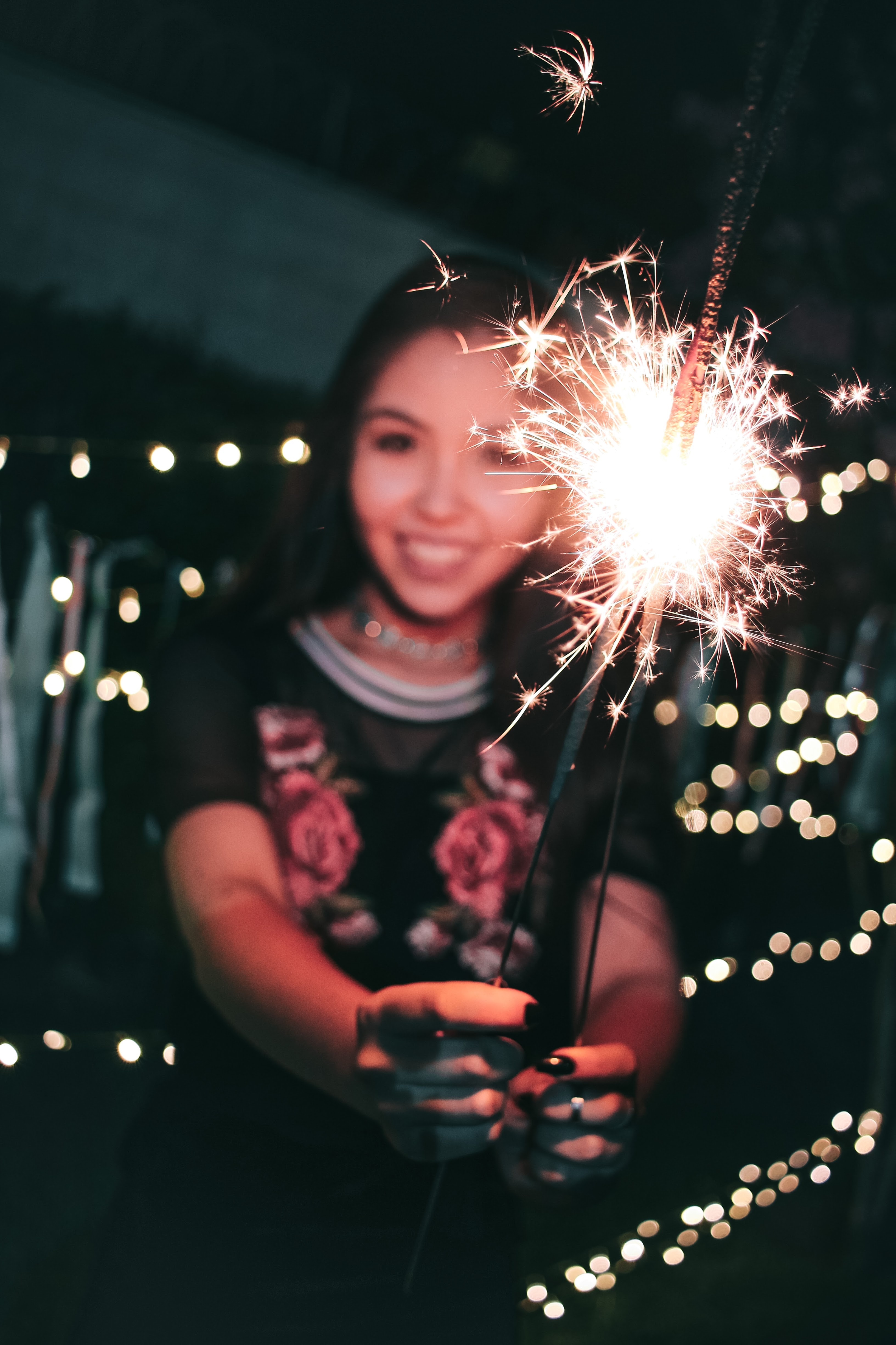 Woman Holding Firecrackers, Blur, Sparks, Sparkler, Smiling, HQ Photo