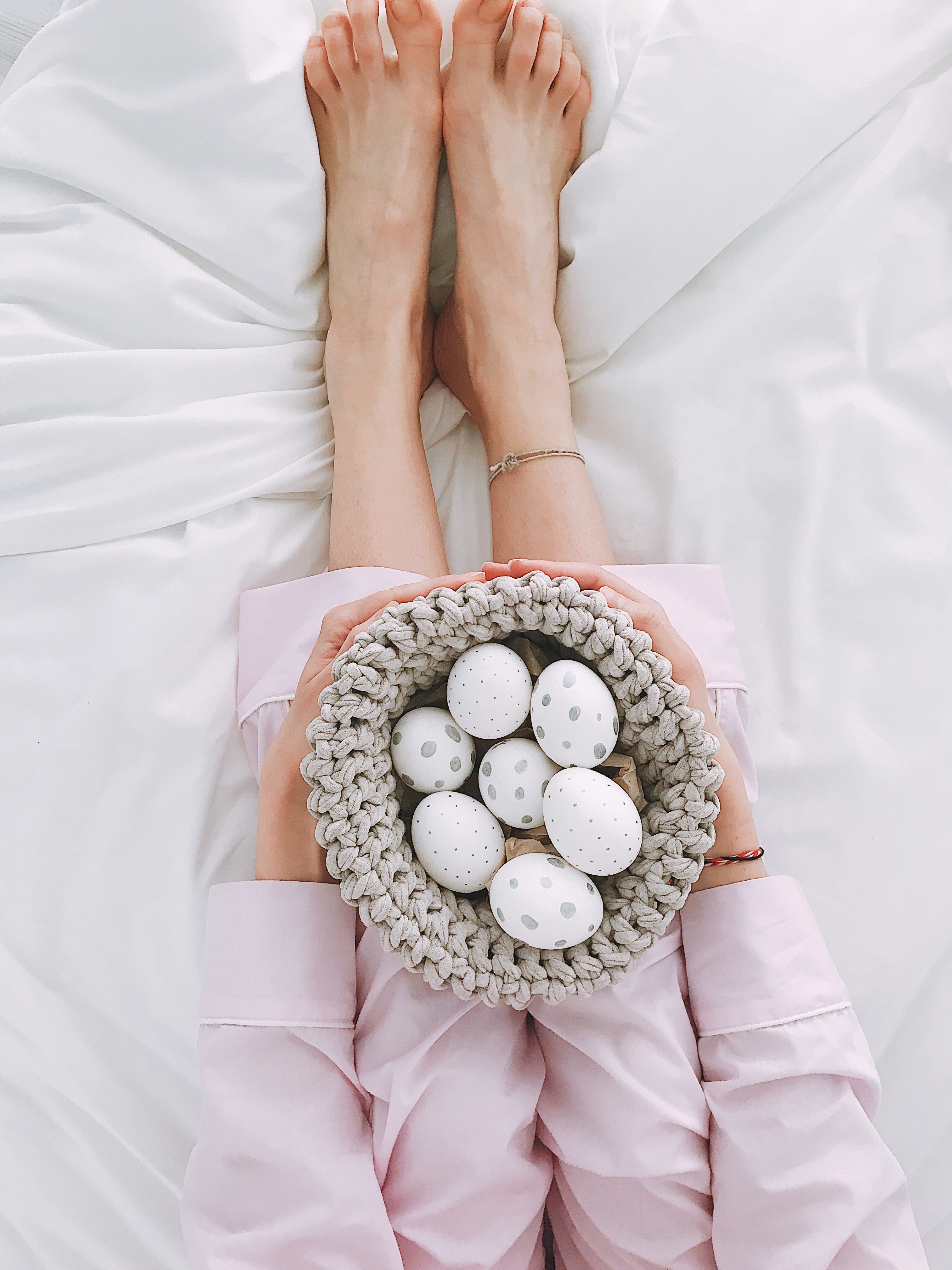 Woman Holding Gray Crochet Bowl With Seven Painted Eggs, Adult, Hands, Style, Relaxation, HQ Photo