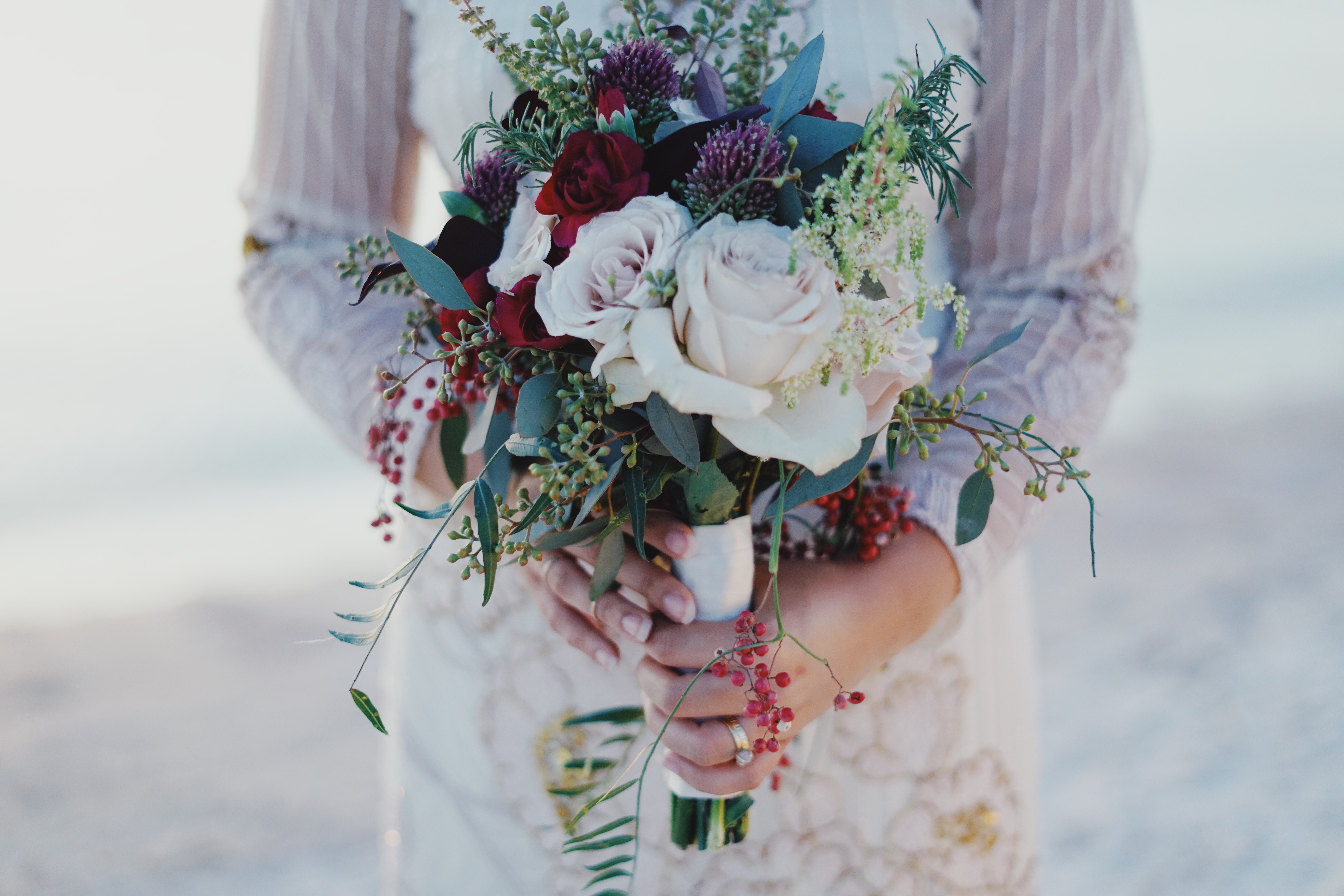 Free Photo Woman Holding Red And White Rose Bouquet Romantic