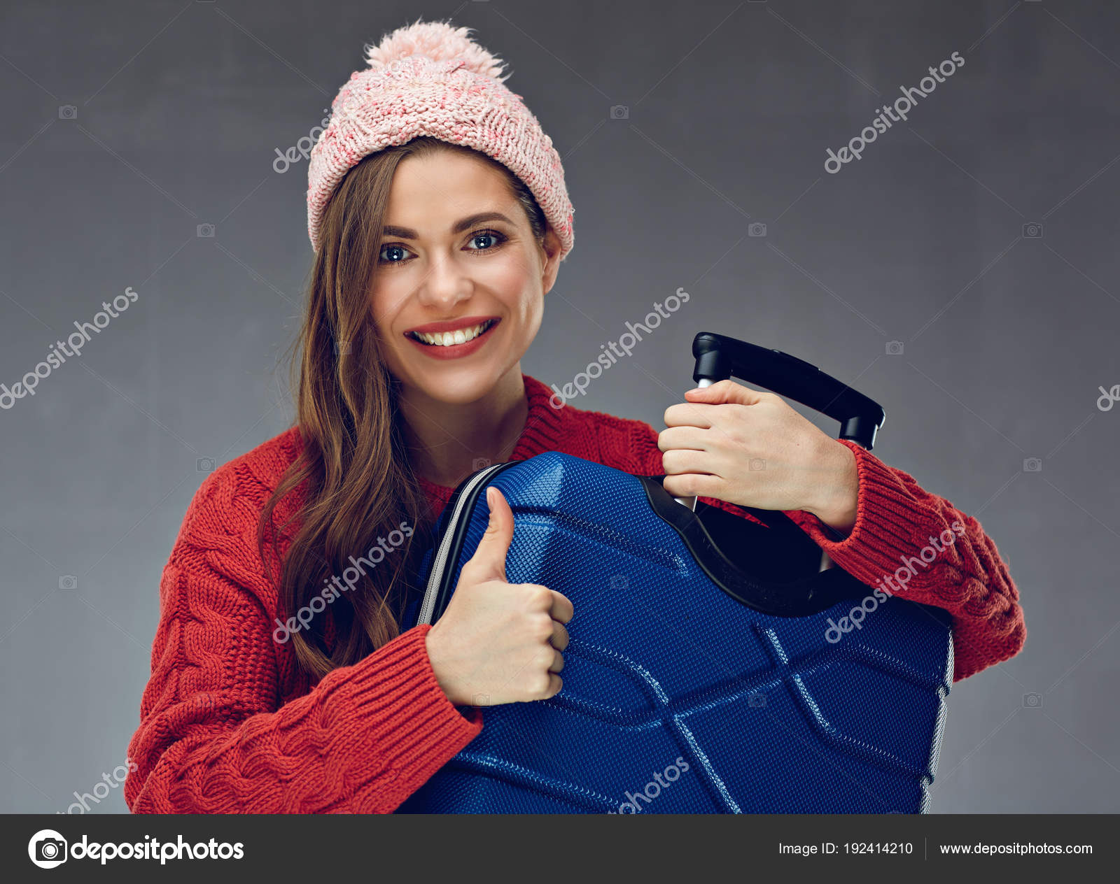 Woman Traveler Wearing Sweater Holding Suitcase Giving Thumb — Stock ...