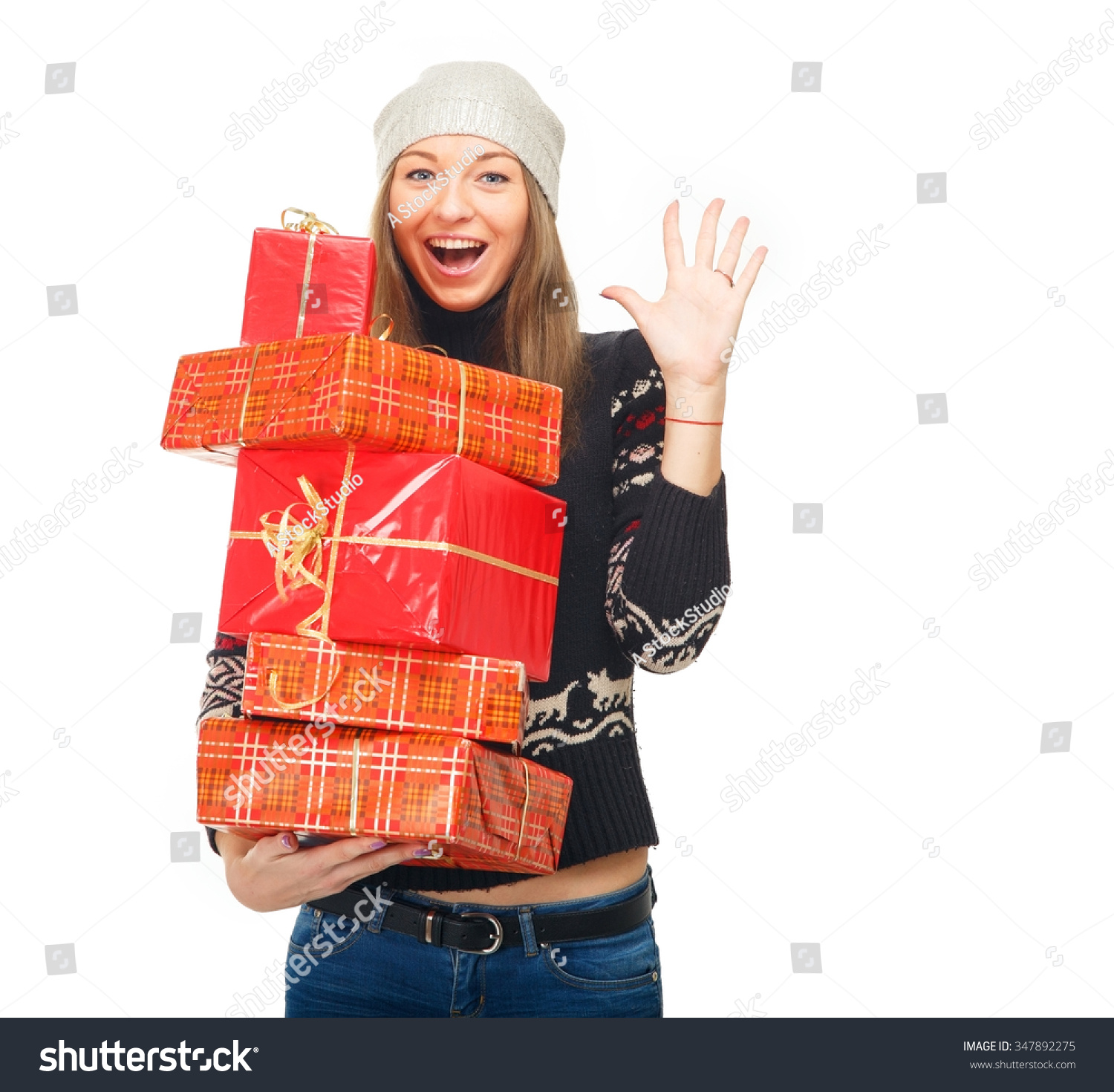Woman Winter Sweater Holding Boxes Gifts Stock Photo 347892275 ...