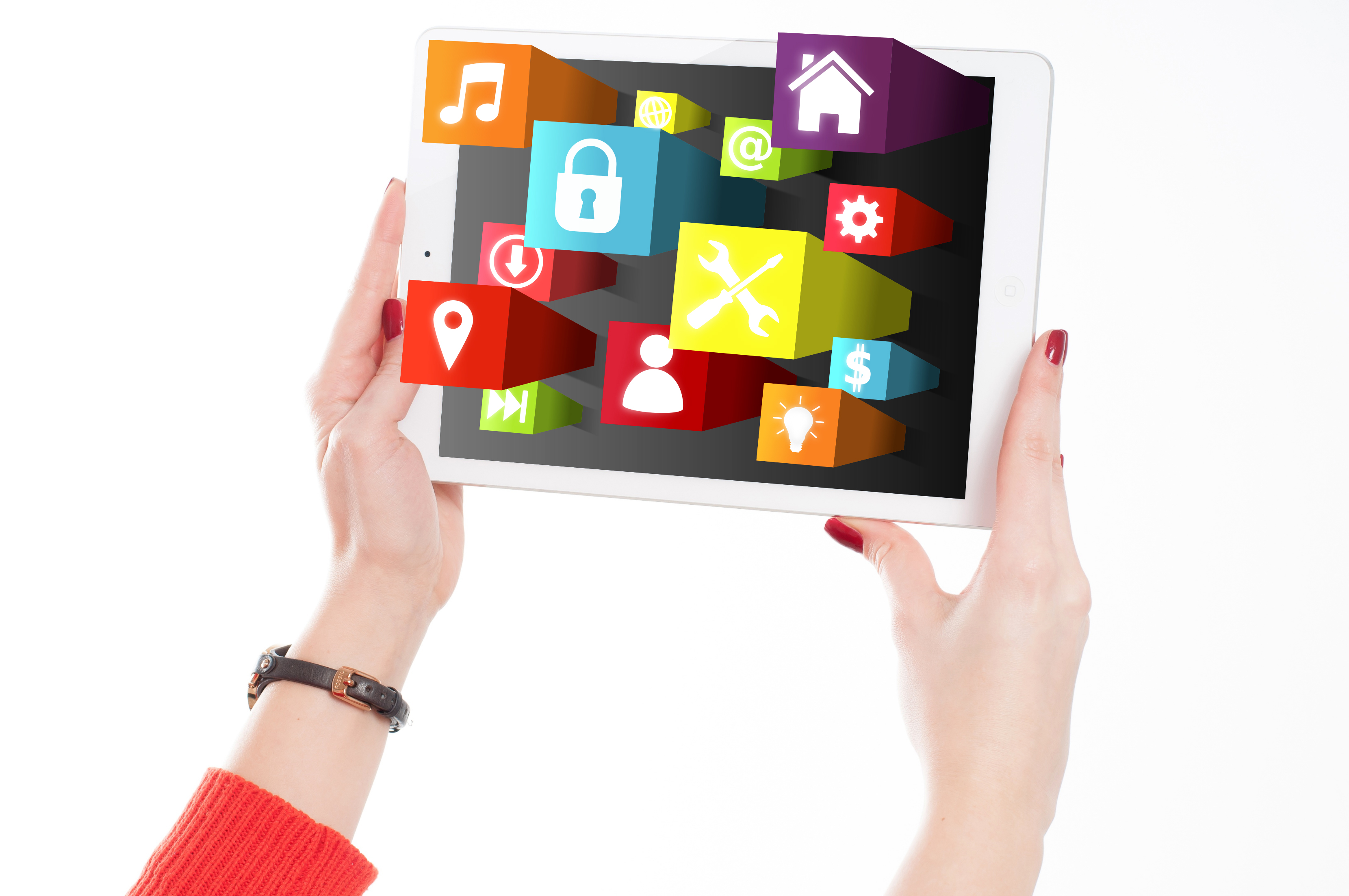 Woman holding tablet with app icons photo