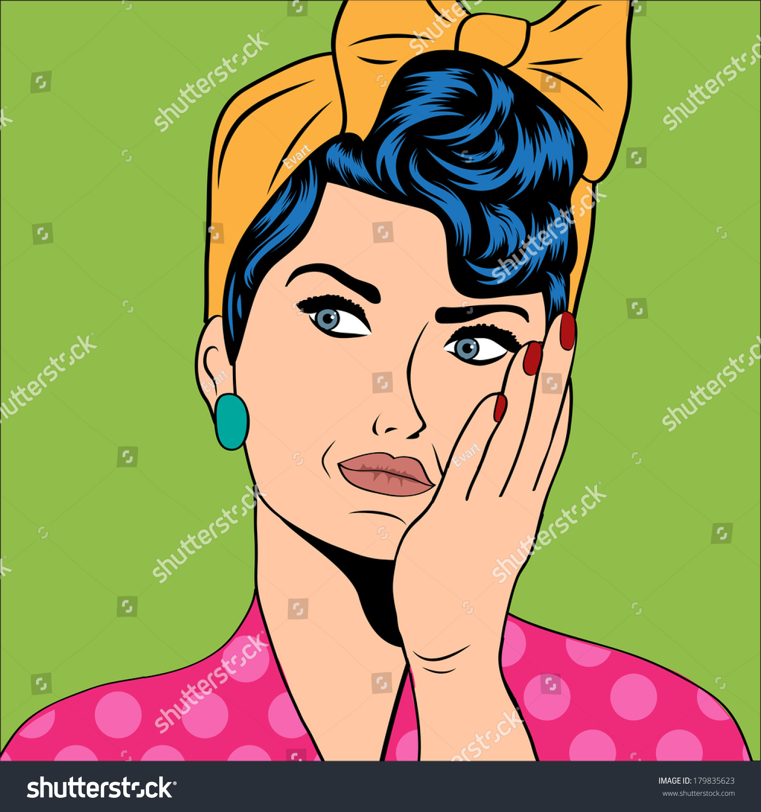 Cute Retro Woman Comics Style Vector Stock Vector 179835623 ...