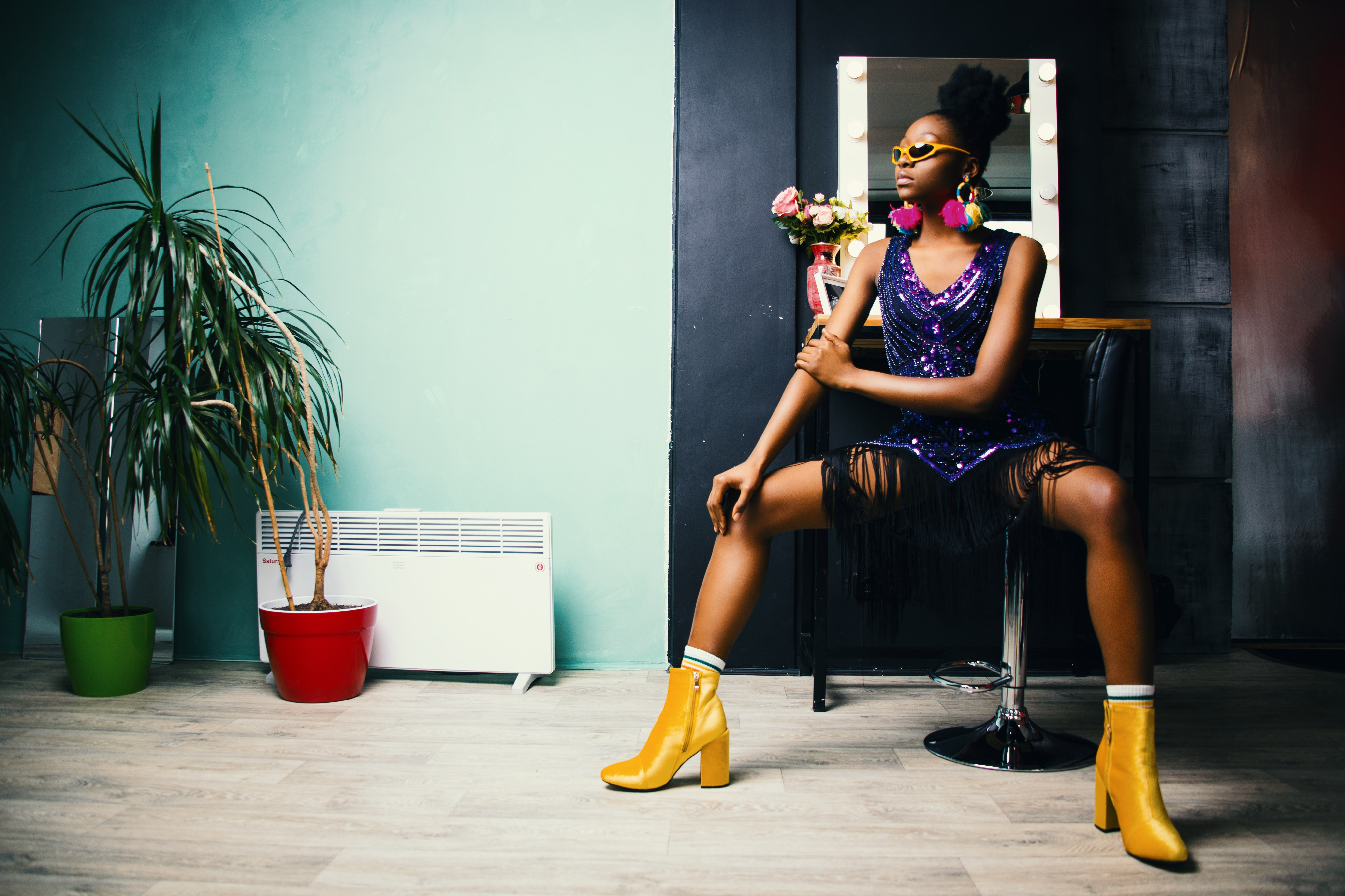Woman in Black Bottoms and Pair of Yellow Chunky Heels, Photoshoot, Young, Woman, Wear, HQ Photo