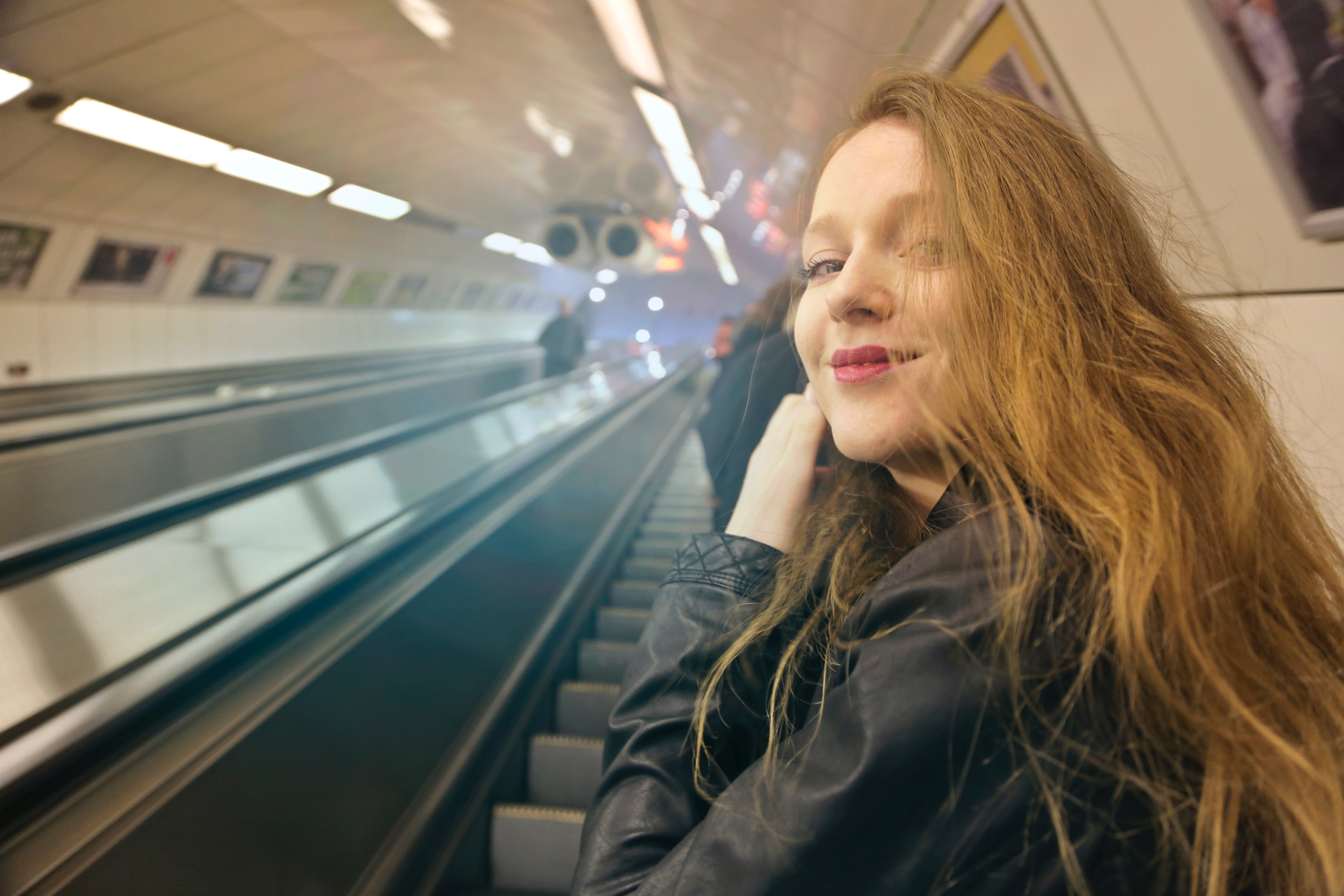 Woman in Black Jacket, Subway system, Smile, Stairs, Station, HQ Photo