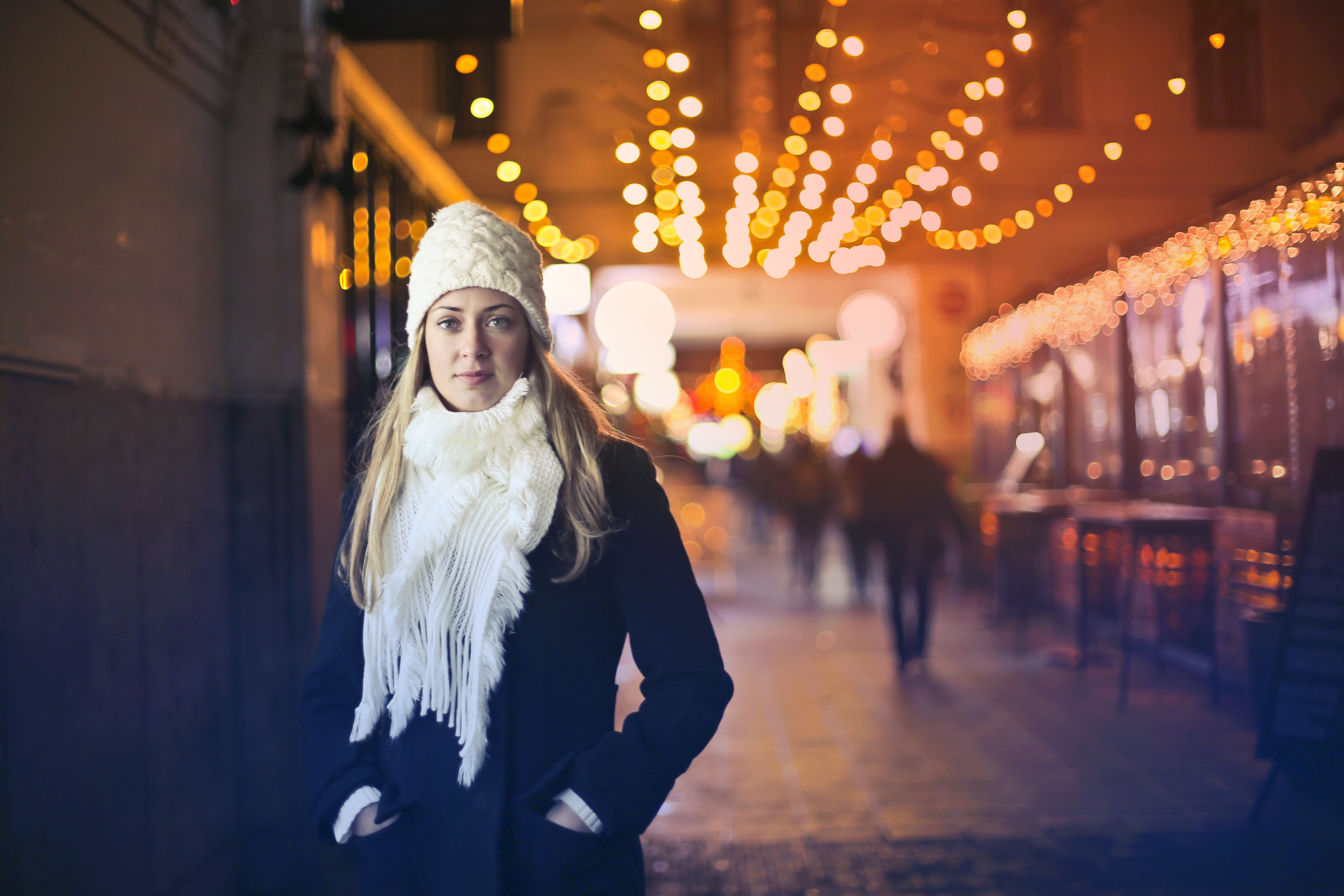 Woman In Black Long-sleeved Top With White Scarf, Beanie, Girl, Winter, Wear, HQ Photo