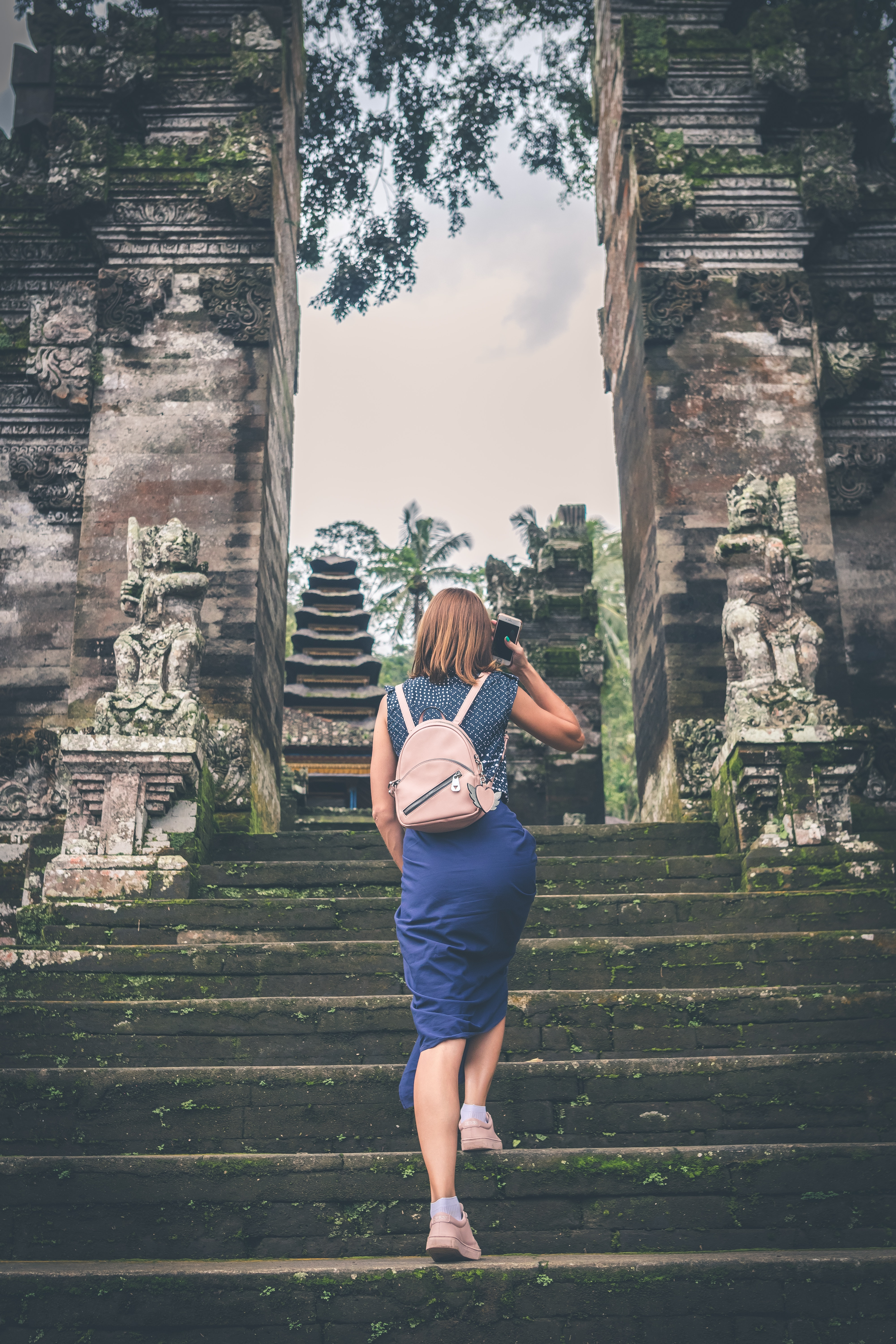 Woman in Blue Dress Walking on Concrete Staircase Leading to Buildings, Ancient, Statues, Religious, Ruins, HQ Photo
