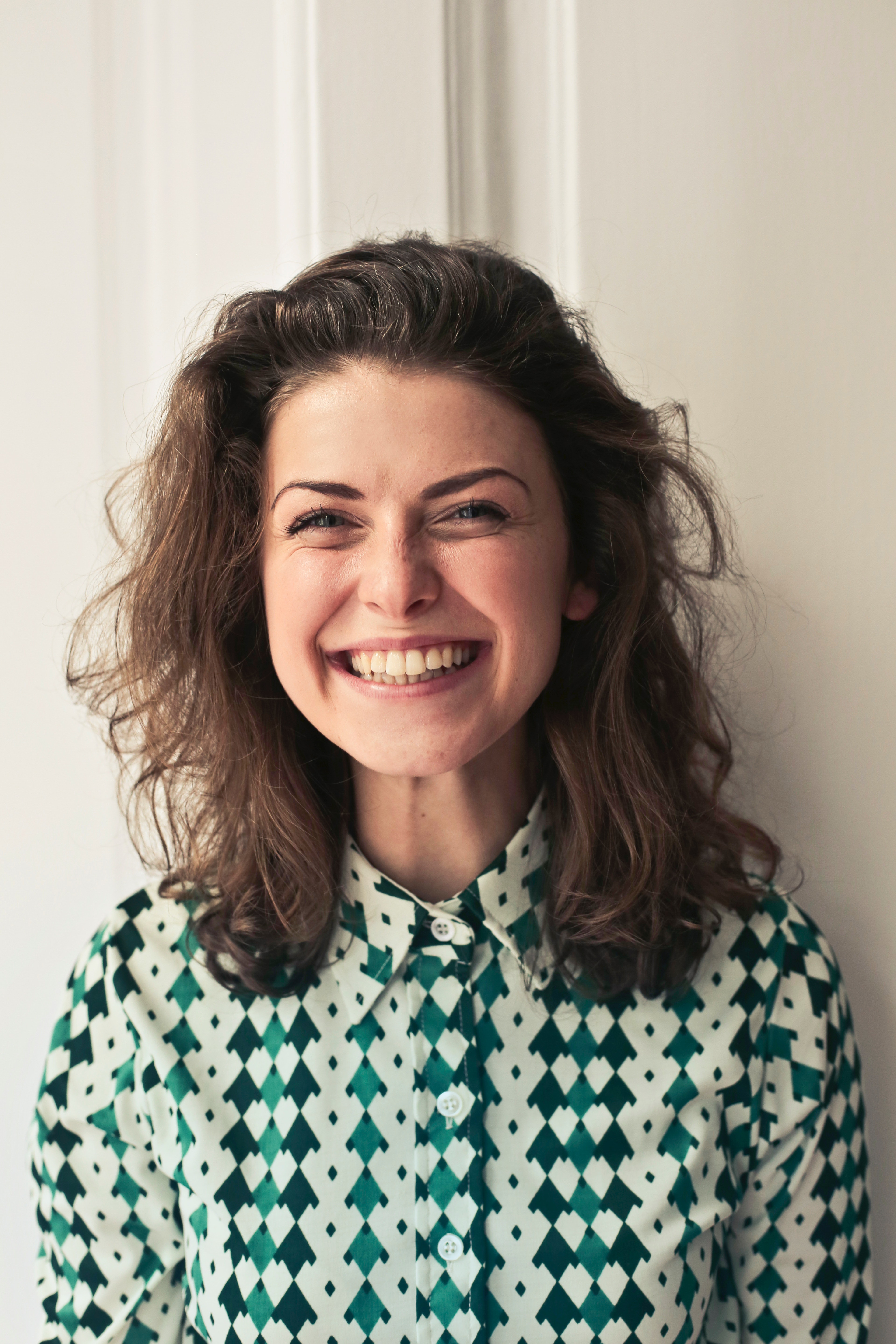 Woman In Collared Shirt, Portrait, Person, Laugh, Pretty, HQ Photo