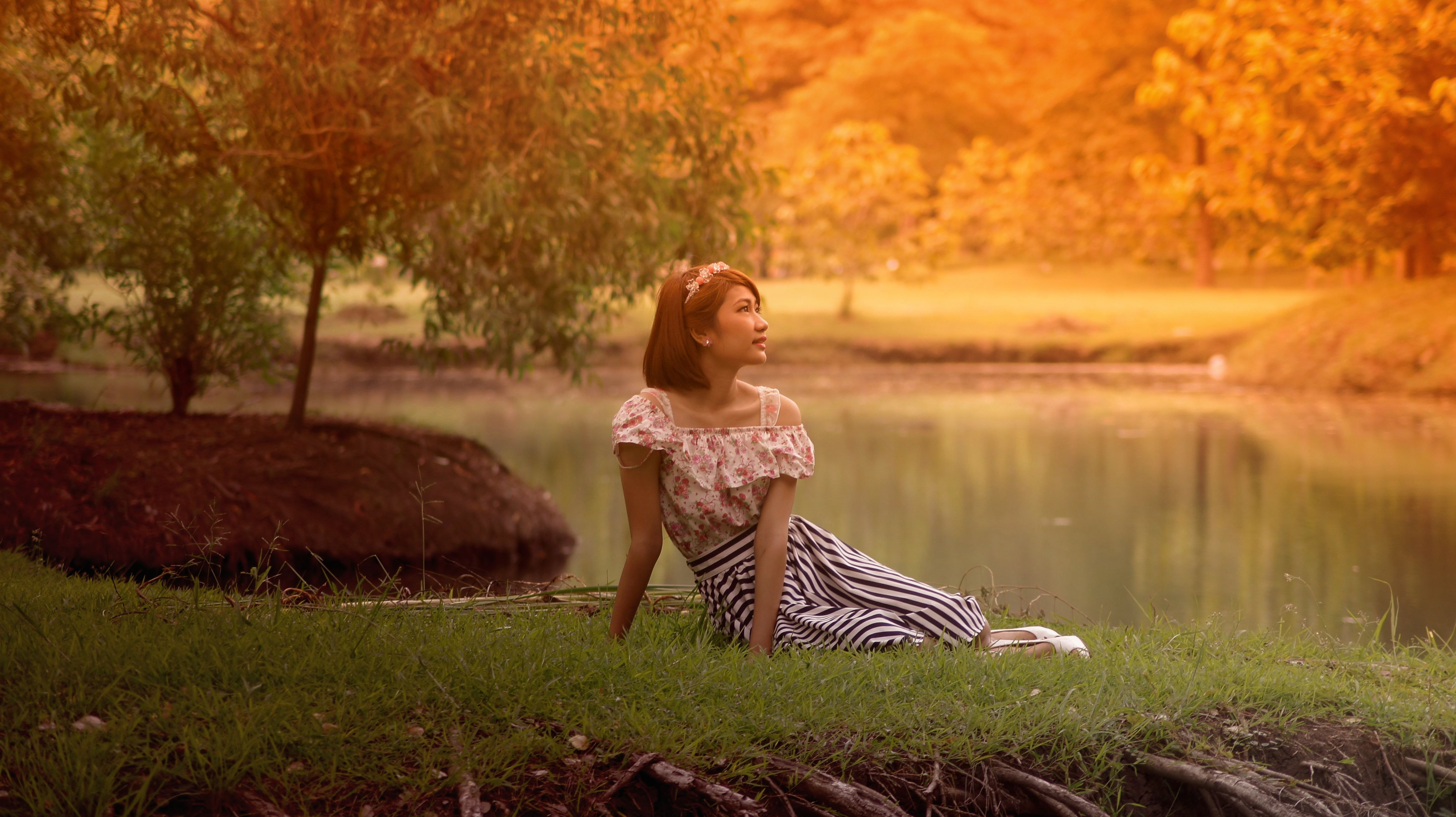 Woman in Dress Lying on Grass, Pond, Young, Woman, Wear, HQ Photo
