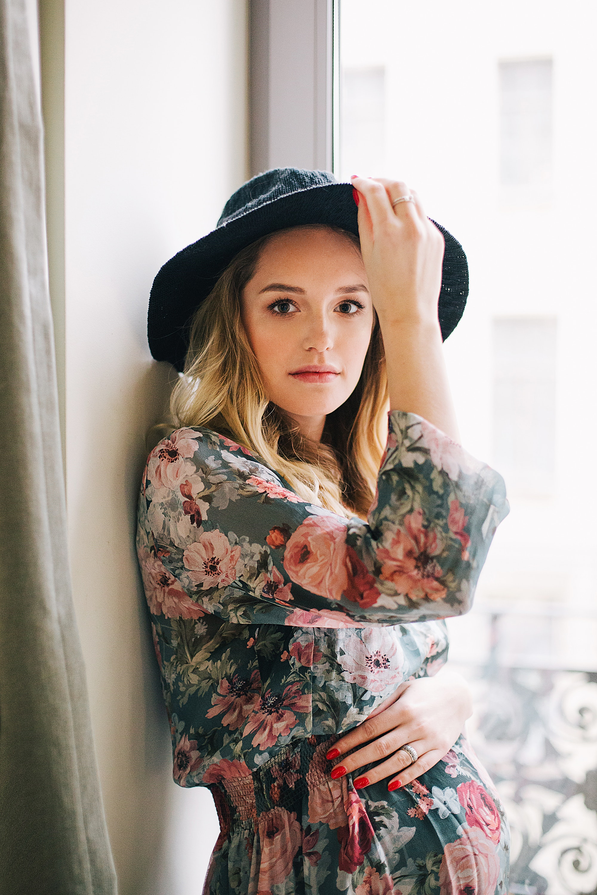 Woman in Multicolored Floral Long-sleeved Dress and Black Hat, Hat, Young, Woman, Wear, HQ Photo