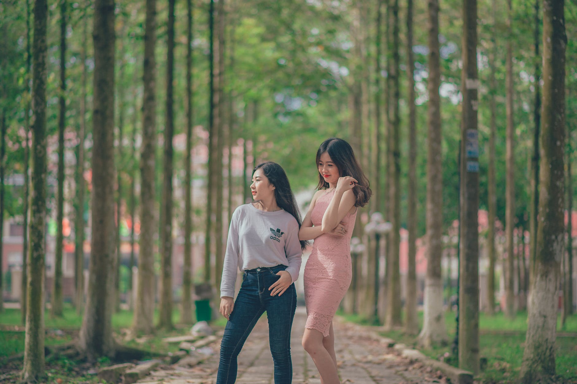 Woman in pencil dress beside woman in gray sweatshirt and blue jeans standing on pathway photo