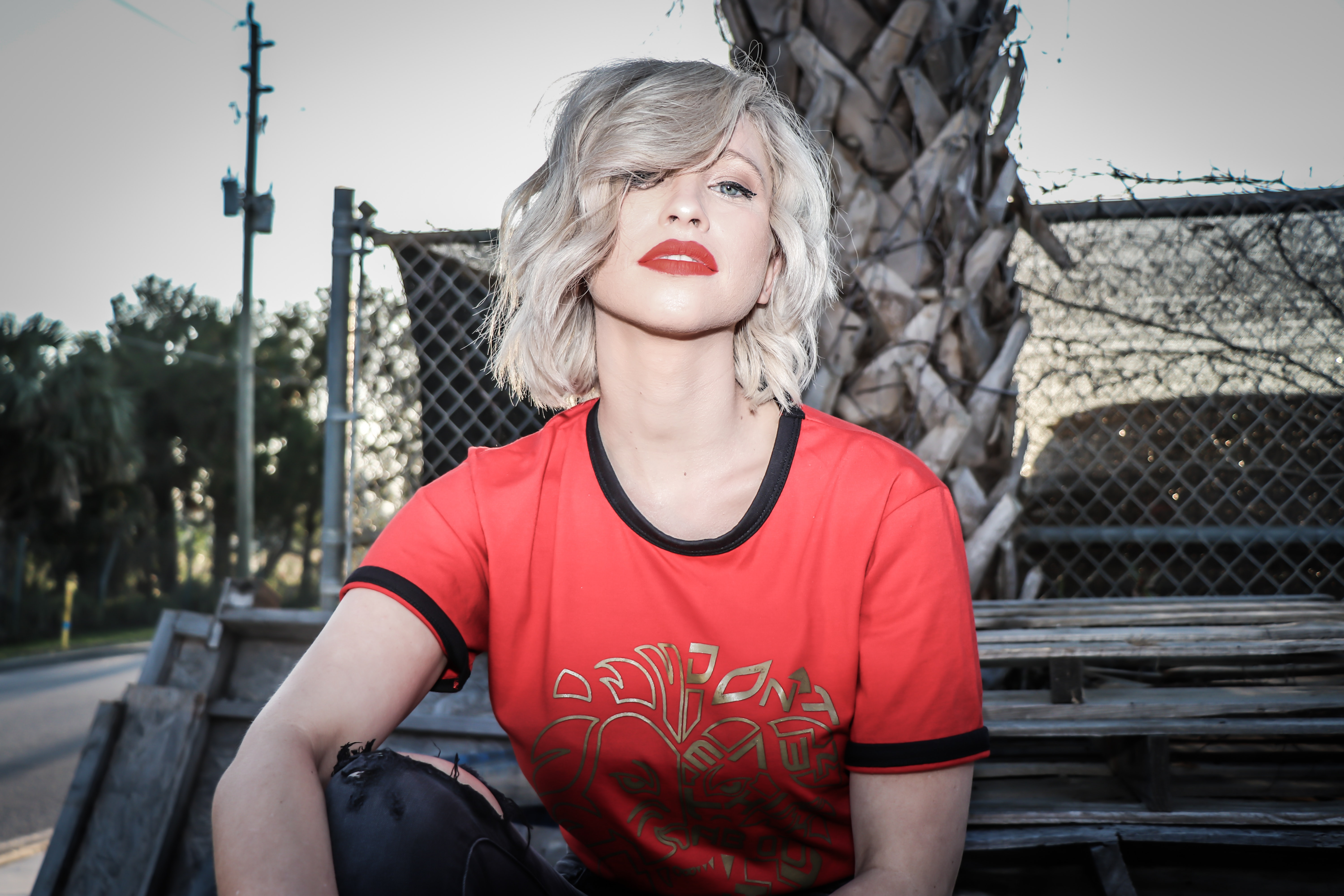 Woman in Red and Black Crew-neck T-shirt, Trees, Street, Pretty, Urban, HQ Photo