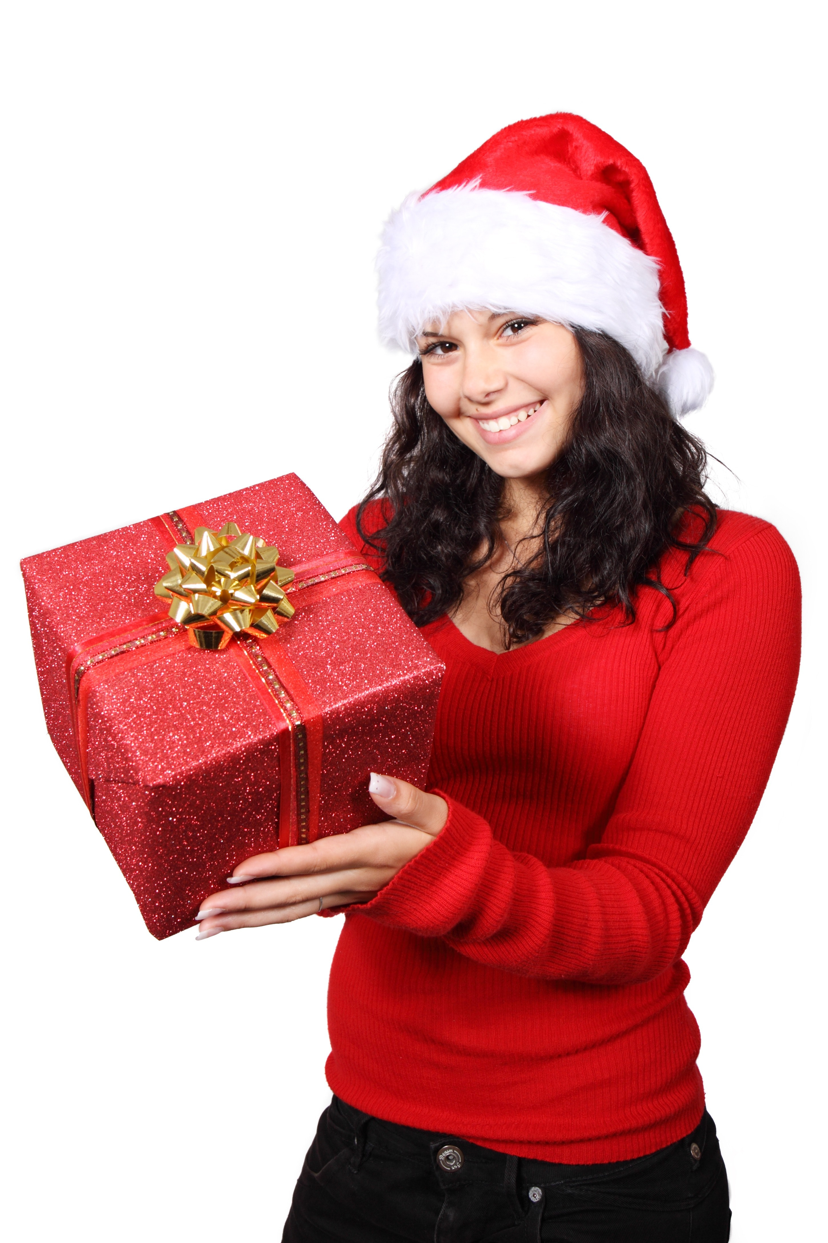 Woman in red long sleeve holding red gift box photo