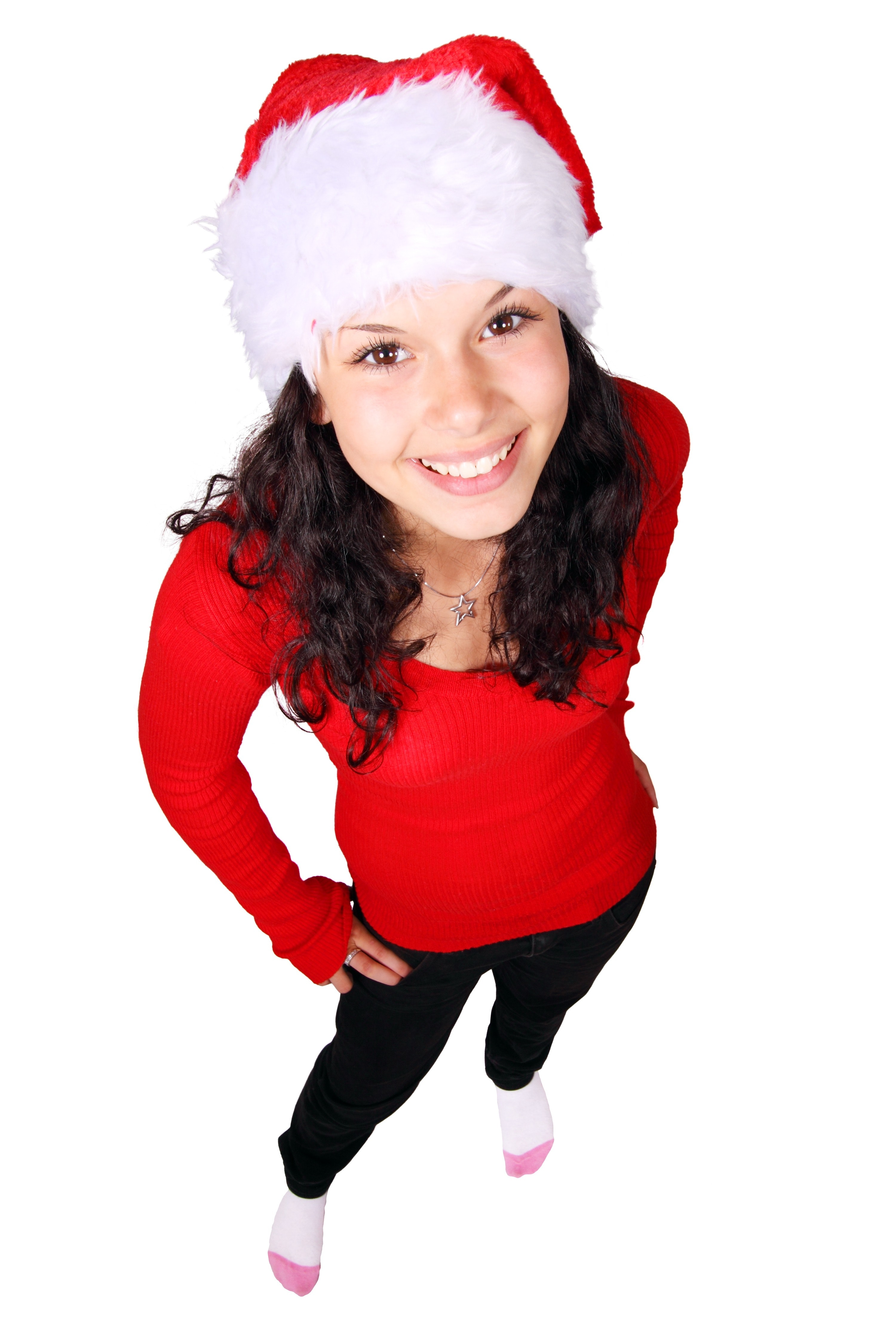 Woman in Red Long Sleeve Shirt, Christmas, Fashion, Female, Happy, HQ Photo