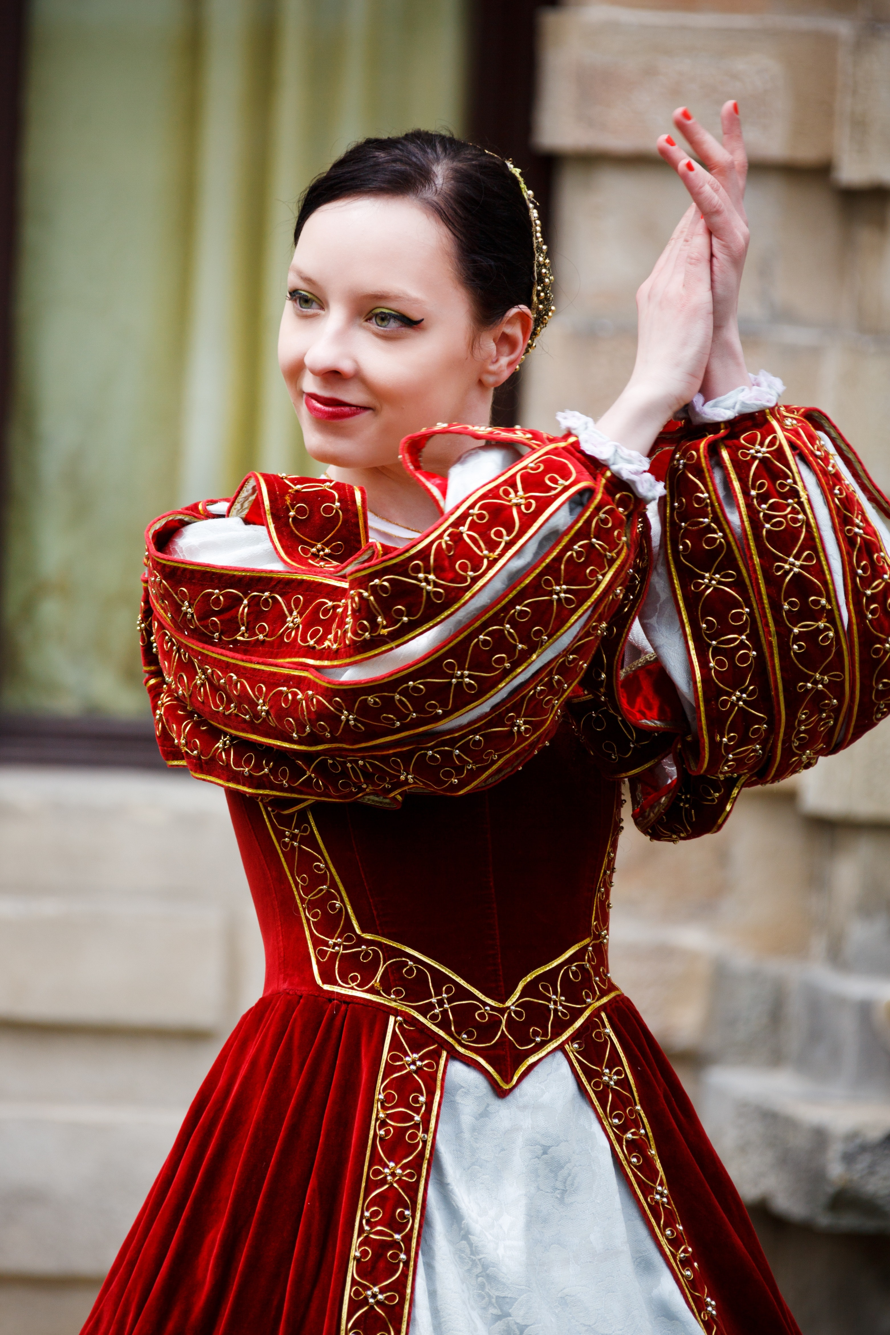 Woman in Red White Dress Clapping in Daytime, Colorful, Costume, Dance, Dancer, HQ Photo