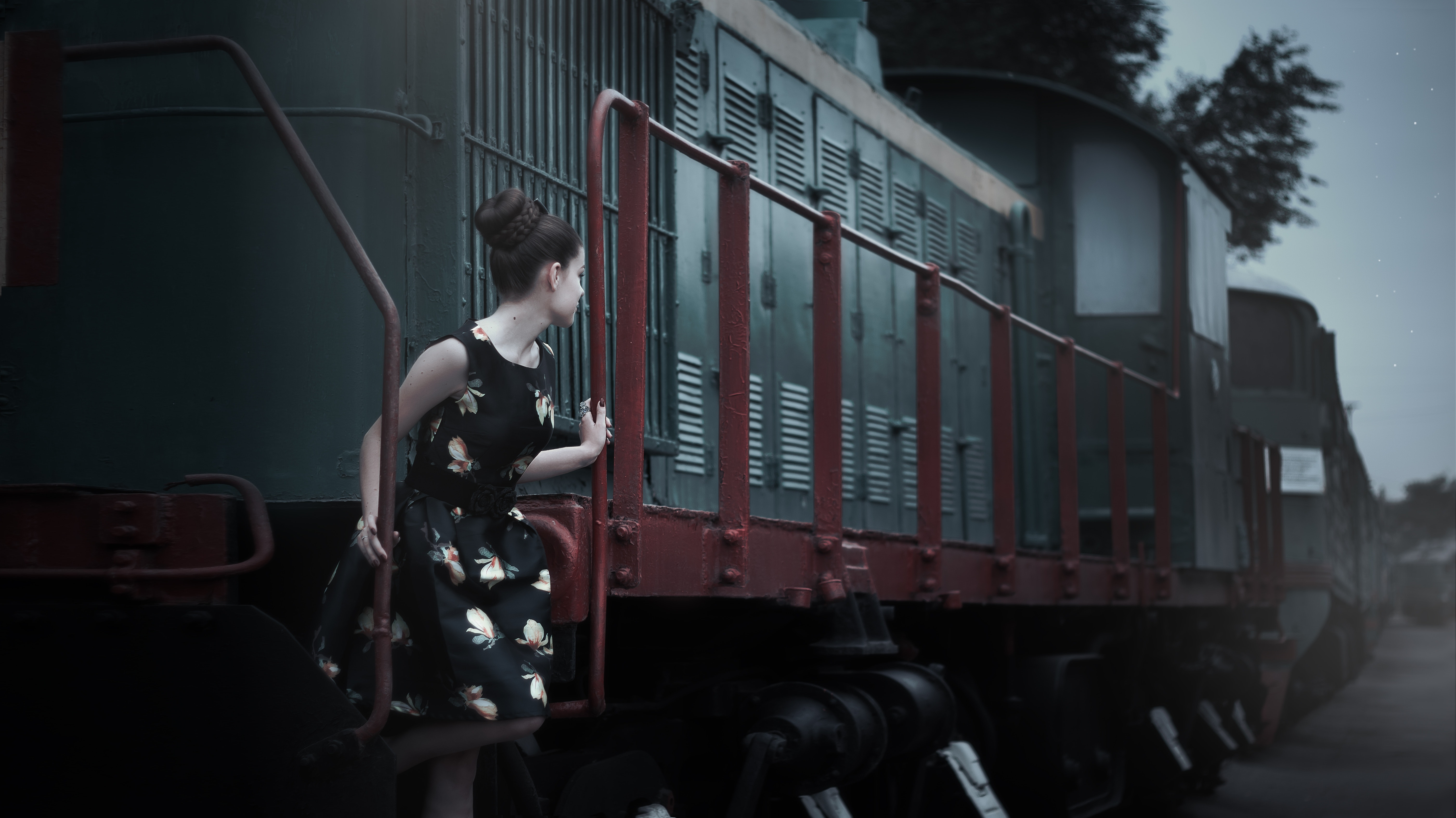 Woman in train photo
