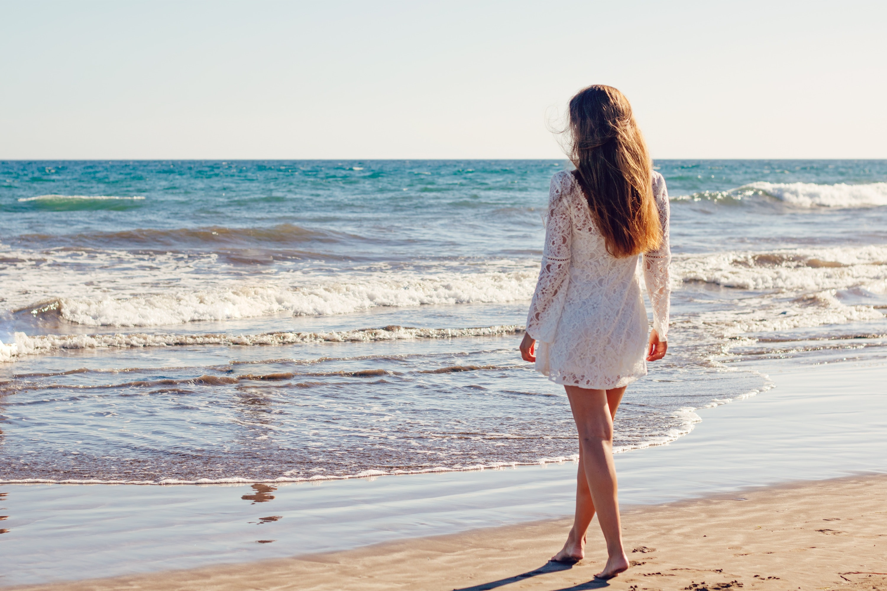Woman in White Lace Long Sleeves Dress on Seashore, Beach, Relaxation, White dress, Waves, HQ Photo