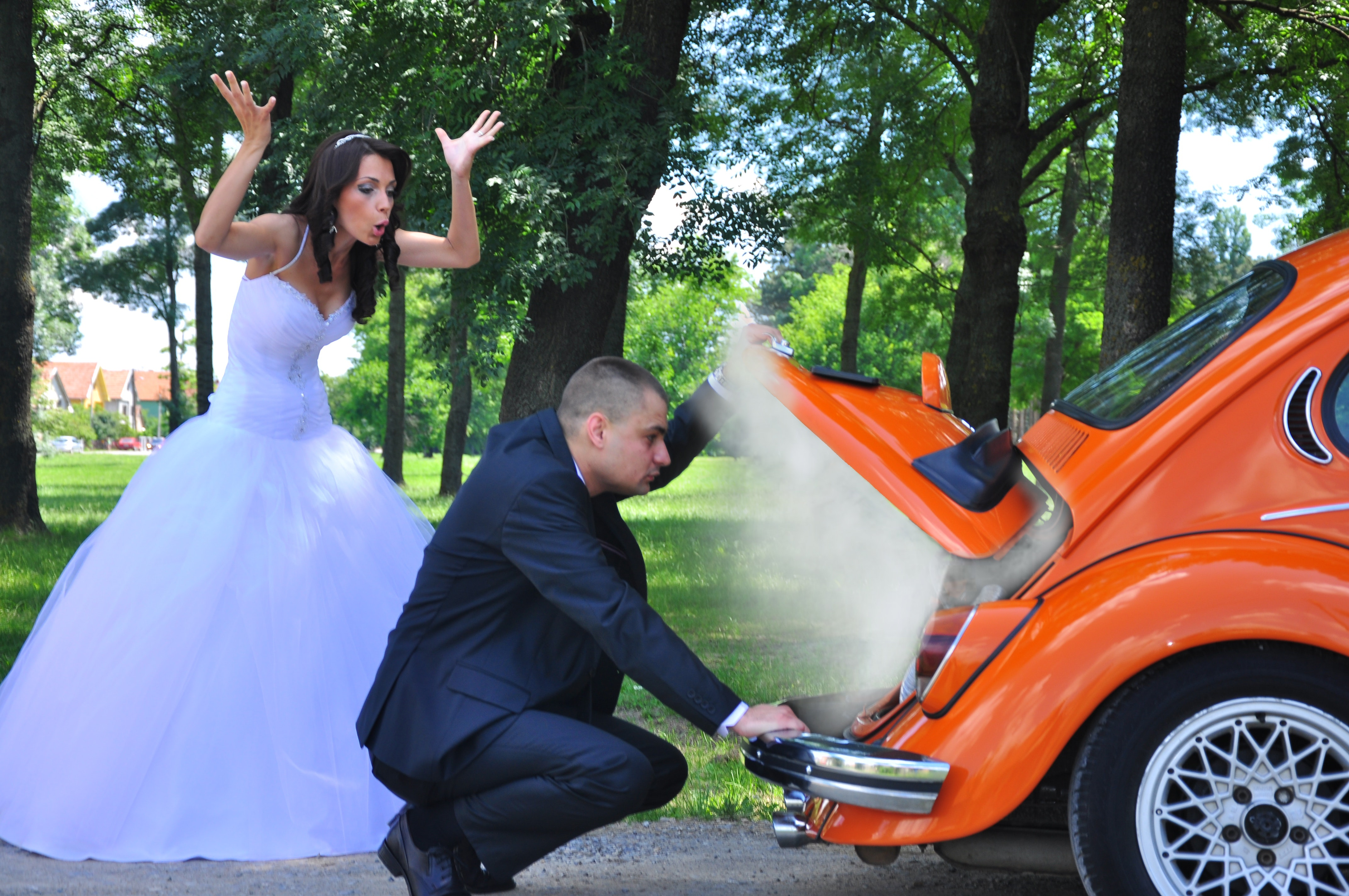 Woman in White Wedding Gown Near Orange Car, Trees, Park, People, Pose, HQ Photo