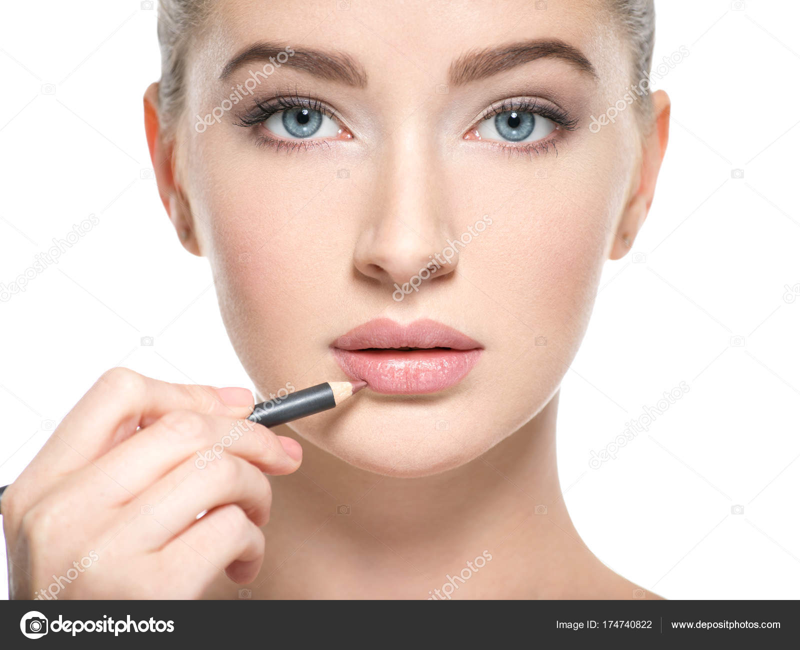 Woman Applying Lipstick Cosmetic Pencil Lips Isolated White — Stock ...