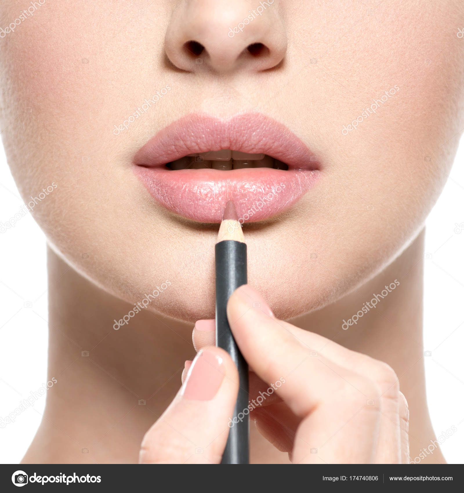 Girl Applying Lipstick Cosmetic Pencil Lips Isolated White — Stock ...
