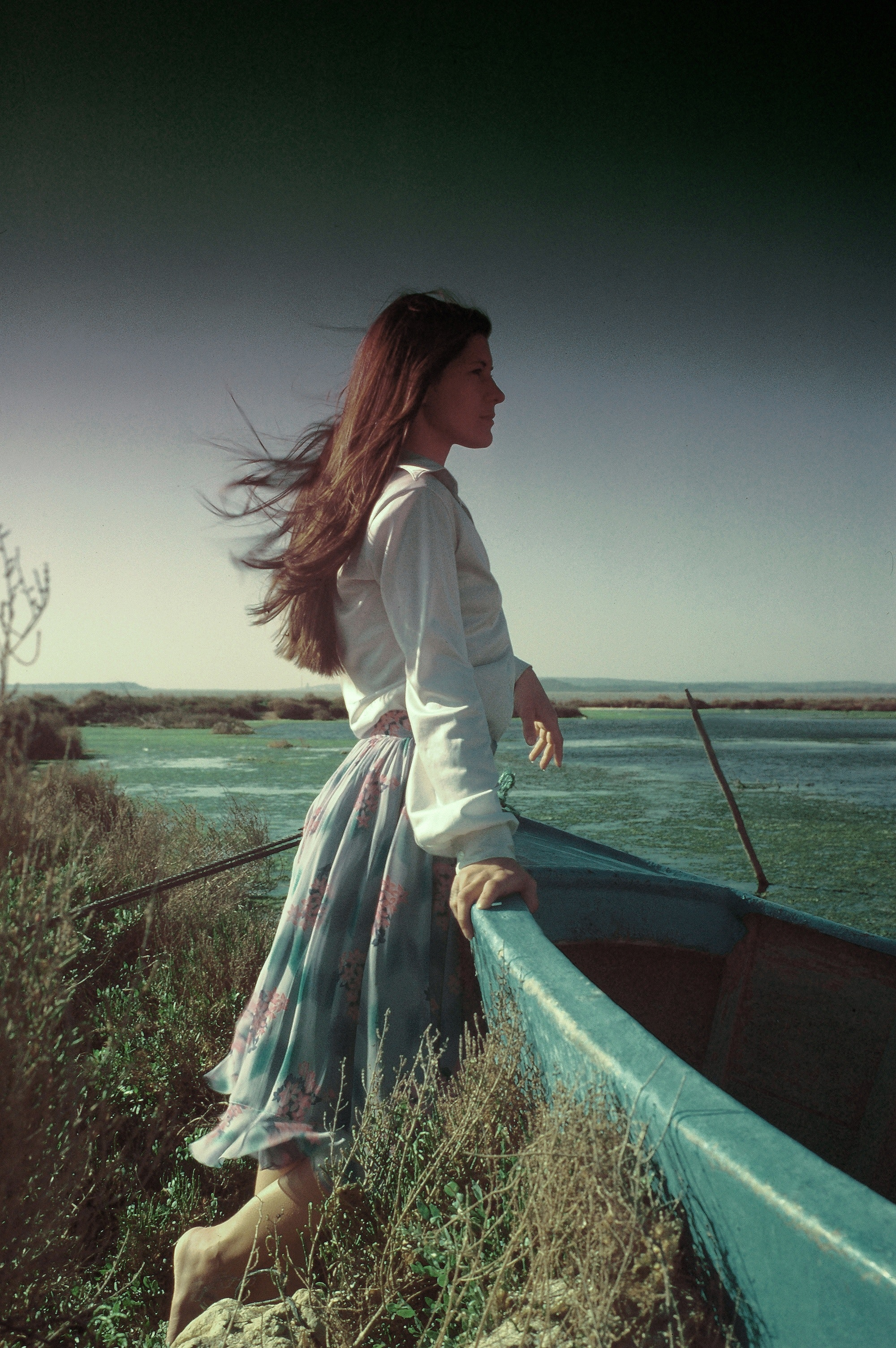Woman looking photo
