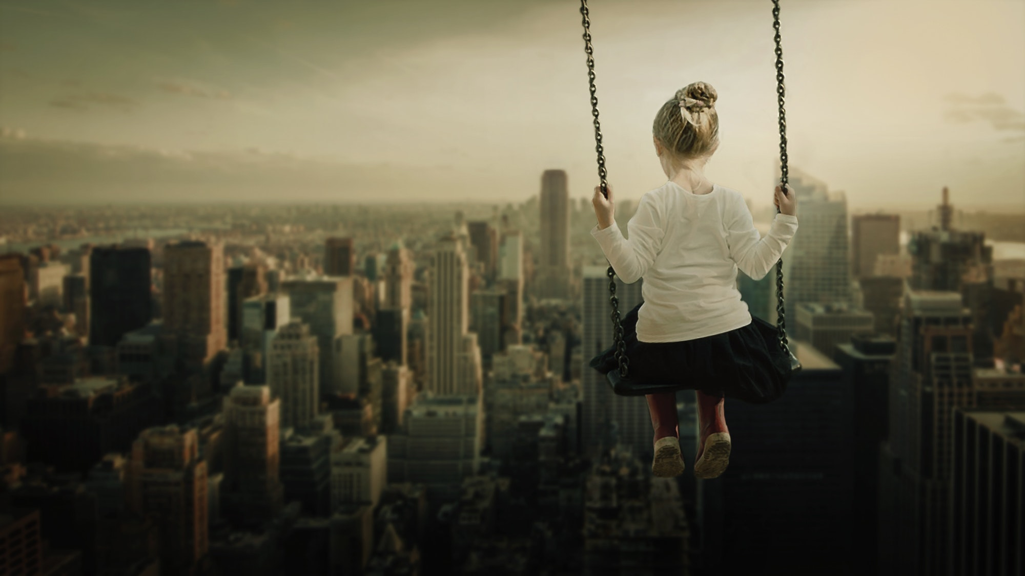 Woman Looking at Cityscape, Architecture, Outdoors, Swing, Skyscraper, HQ Photo