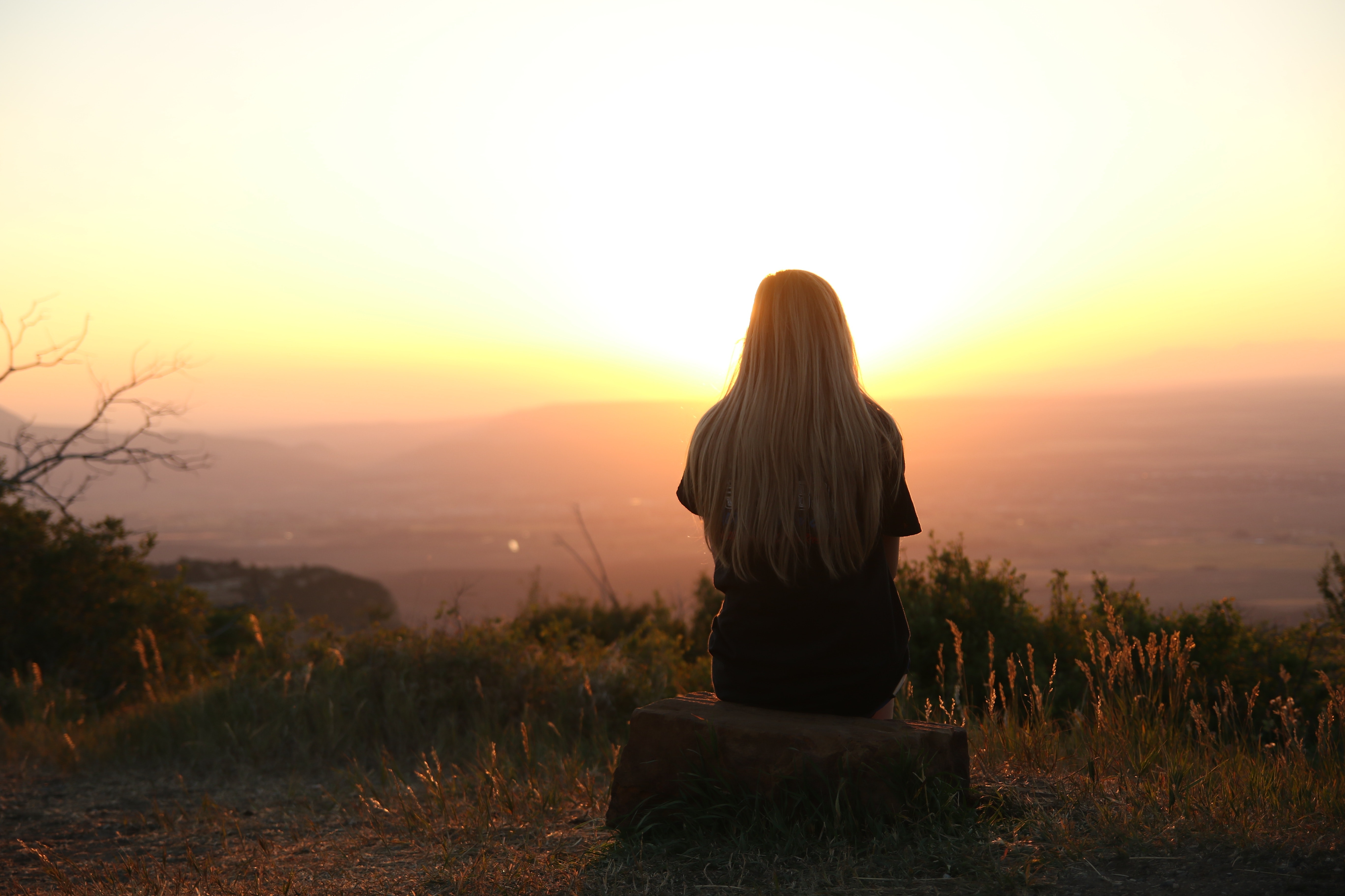 Woman Looking at Sunset, Mountain, Woman, Travel, Thinking, HQ Photo