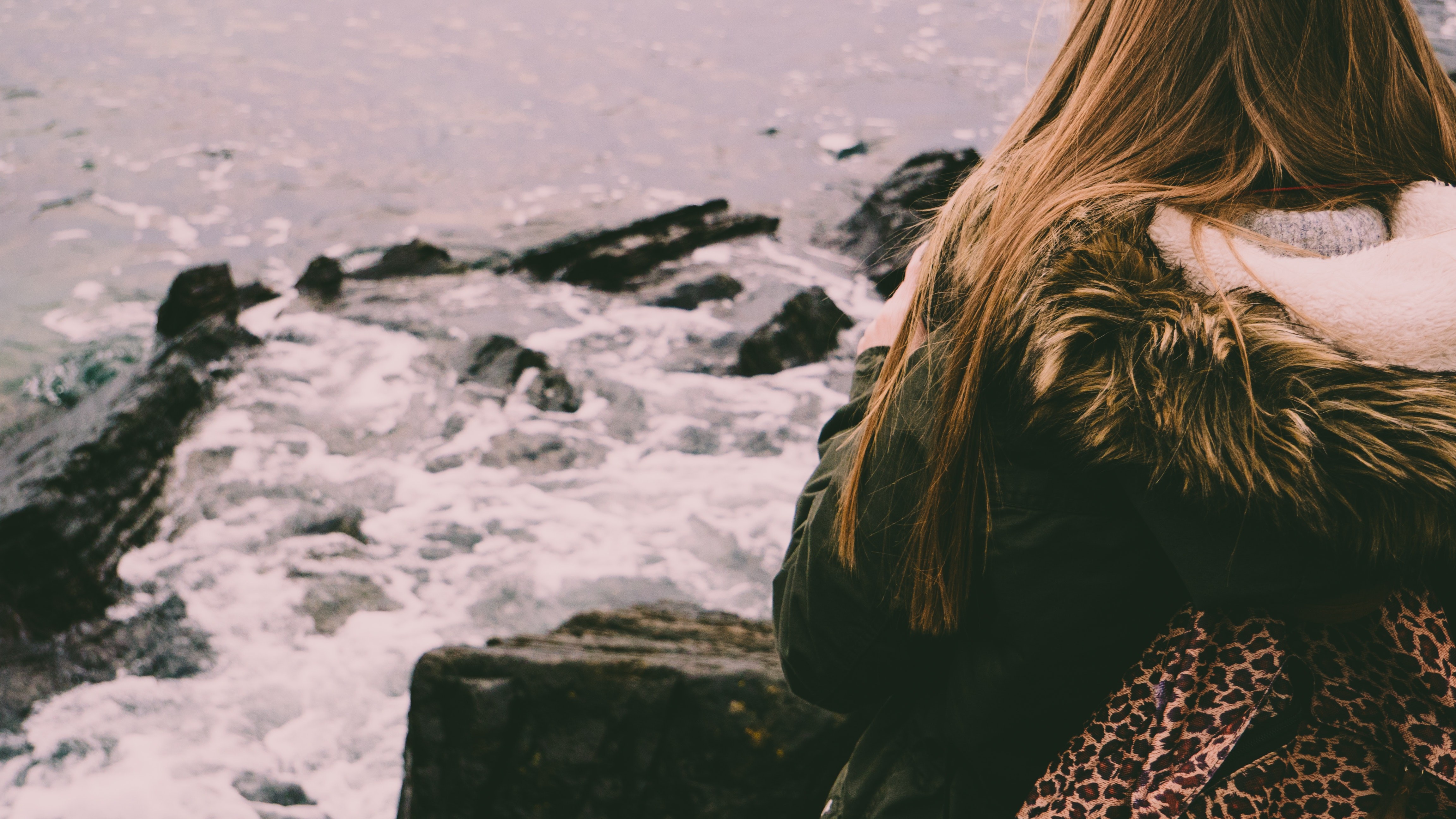 Woman Looking at the Water, Beach, Cold, Daylight, Ocean, HQ Photo