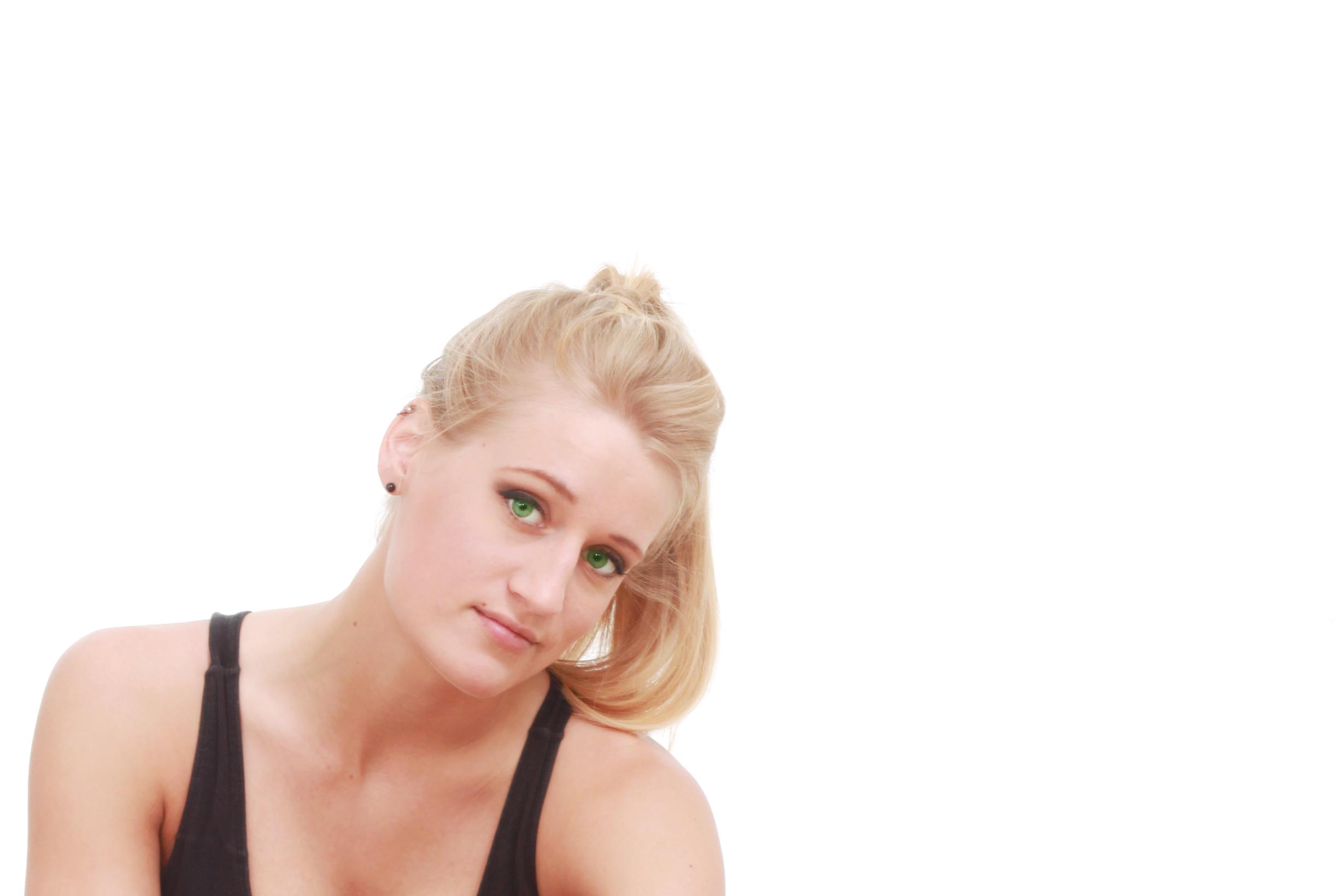 Woman on white photo