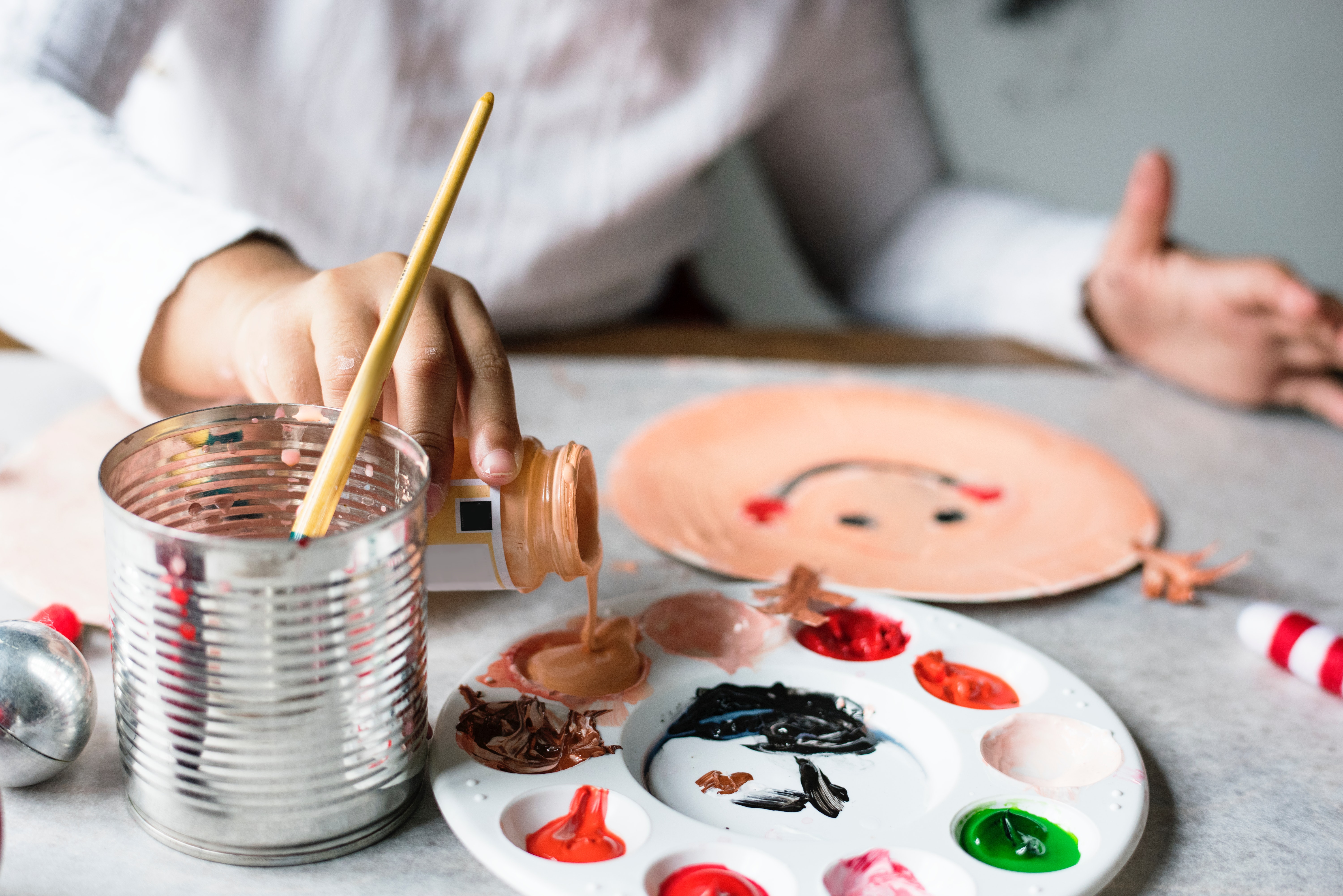 Woman Pouring Down a Brown Paint, Activity, Learning, Elementary, Handmade, HQ Photo
