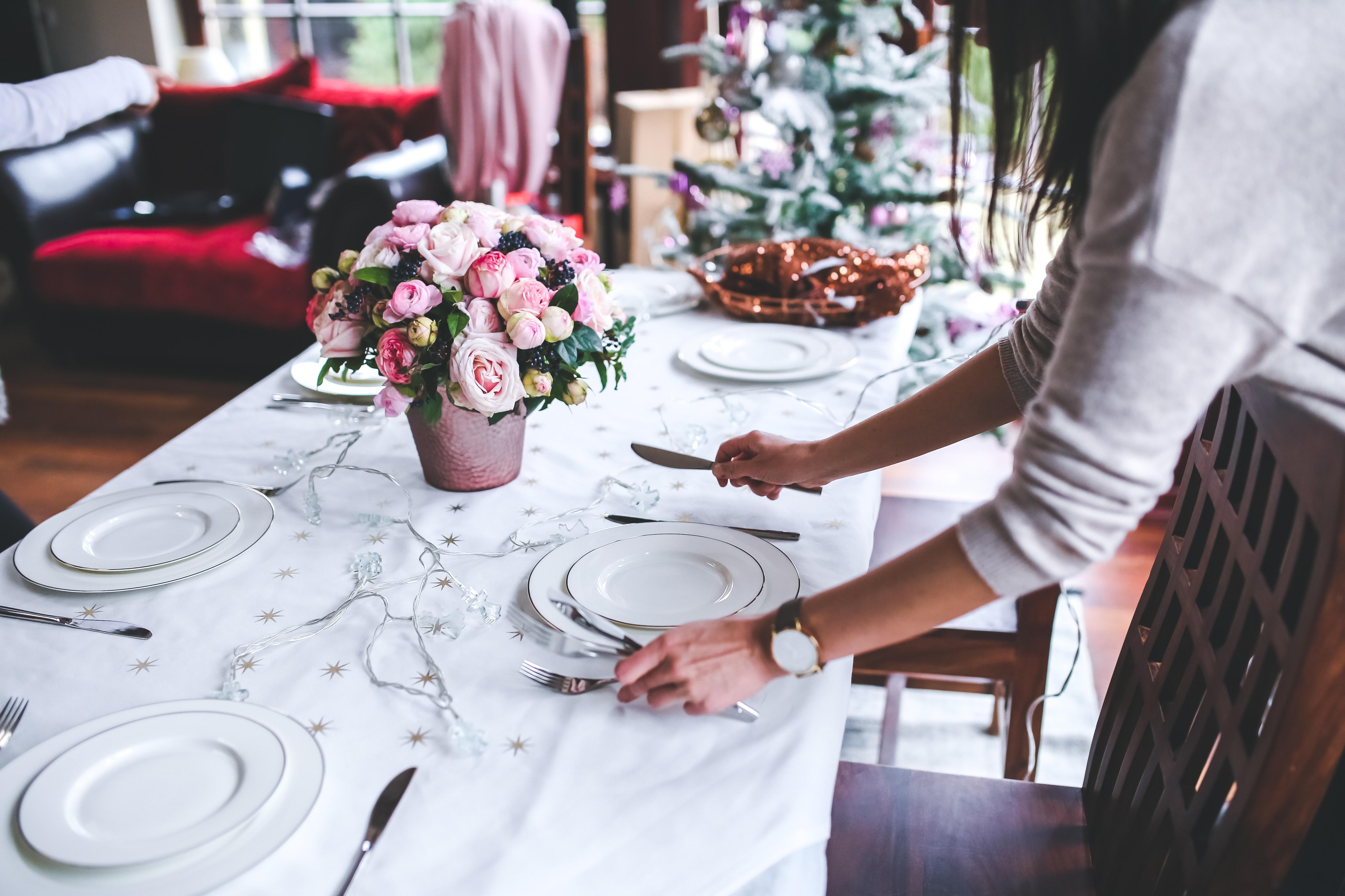 Woman Preparing Christmas Table, Holidays, Woman, Wedding, Tableware, HQ Photo