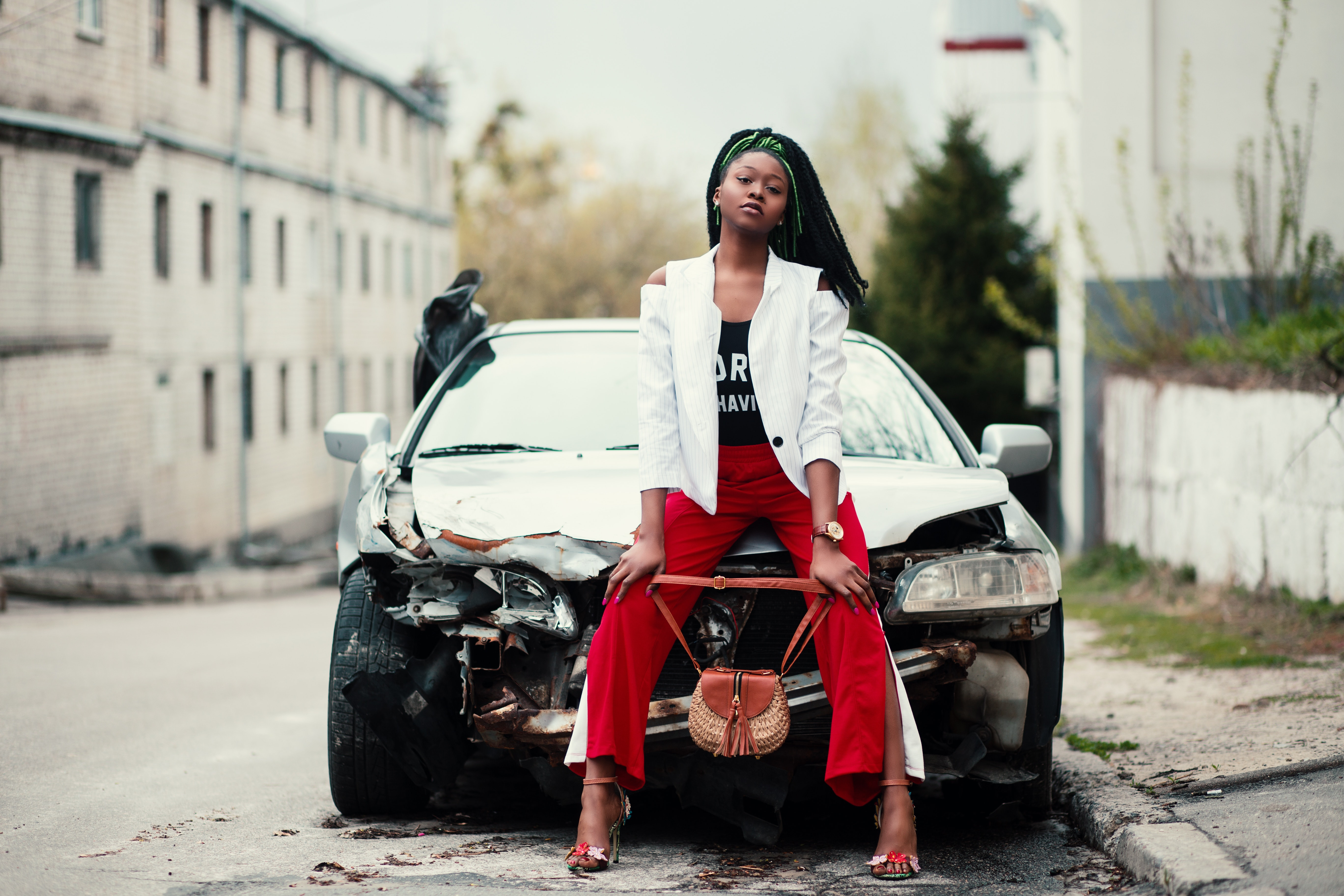 Woman Sitting in Front of the Car, Accident, Girl, Woman, Vehicle, HQ Photo