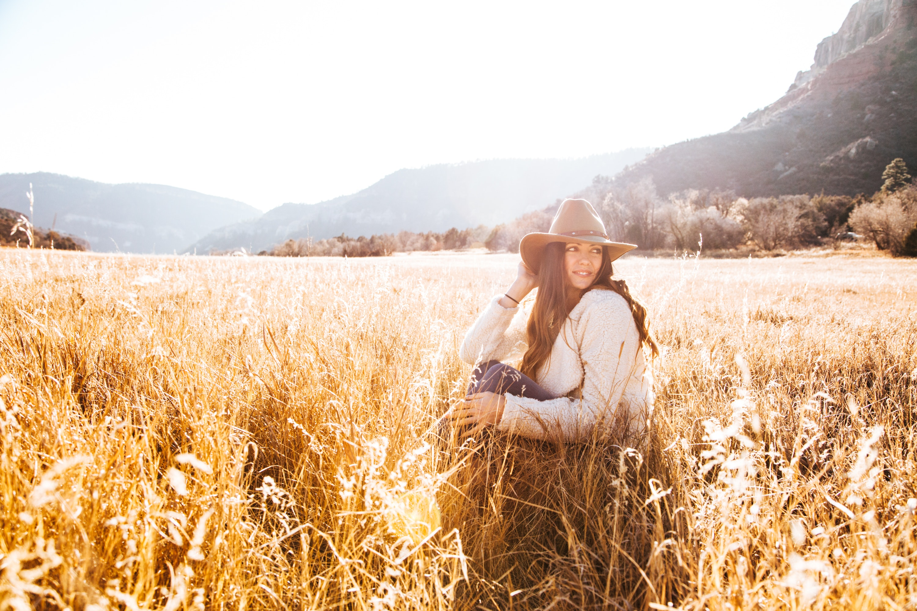 Woman Sitting on Grass Wearing Sun hat Field, Agriculture, Model, Wheat field, Wheat, HQ Photo