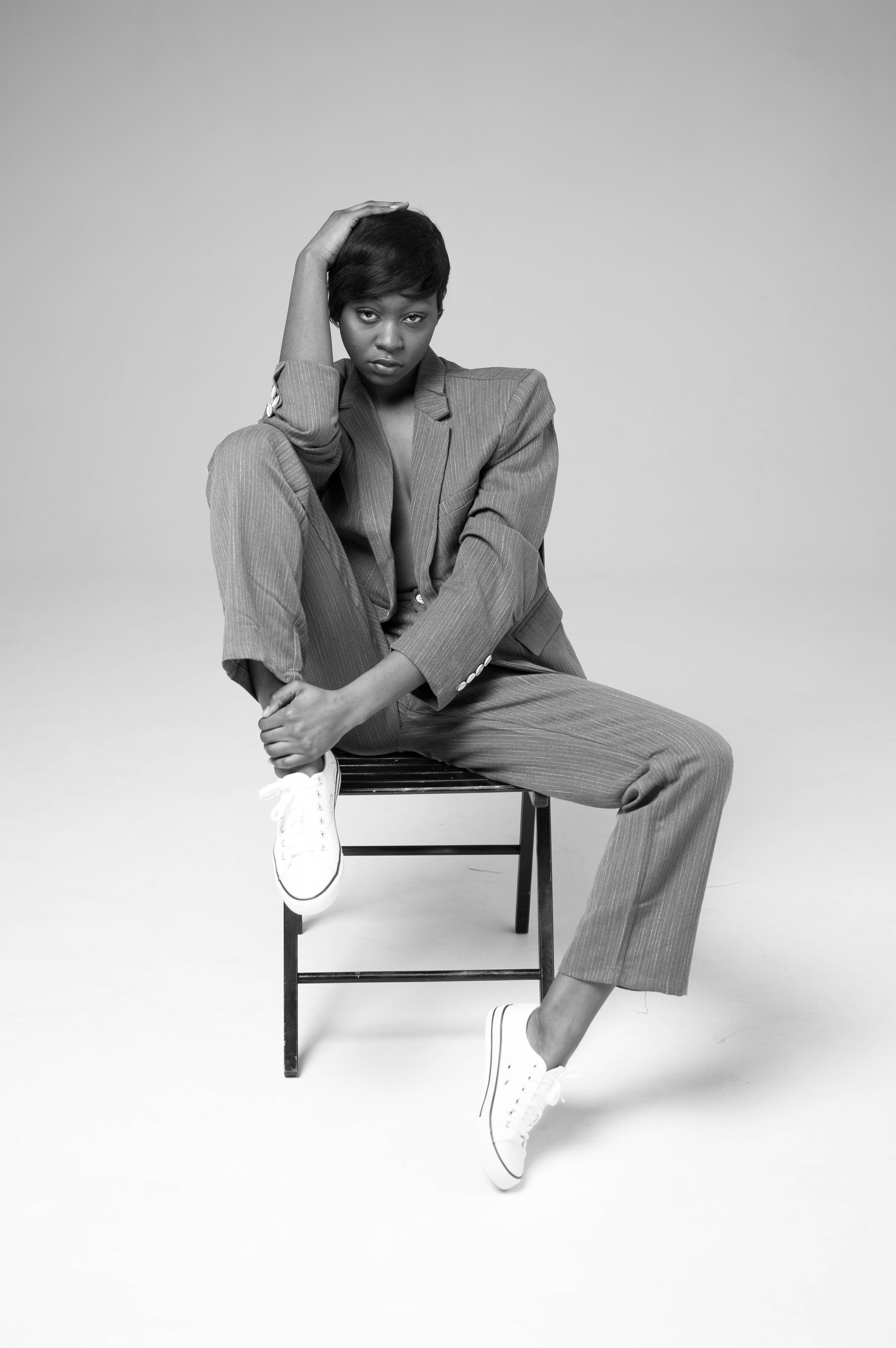 Woman Sitting On Metal Chair, Pose, Wear, Suit, Style, HQ Photo