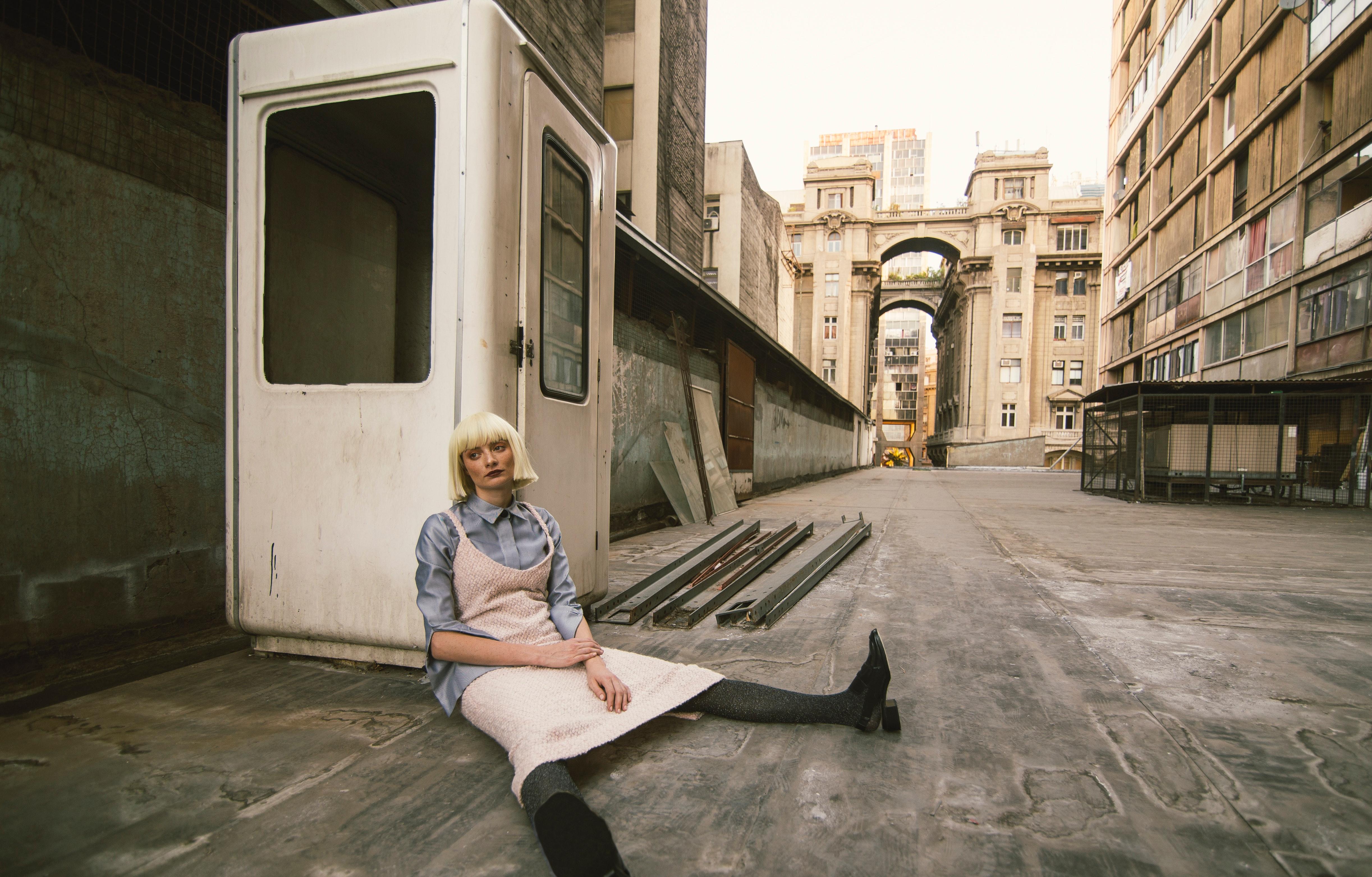 Woman Sitting on Road, Adult, Resting, Windows, Wear, HQ Photo